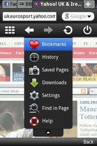 Menyen i Opera Mobile 5 Beta 2 for Symbian S60.
