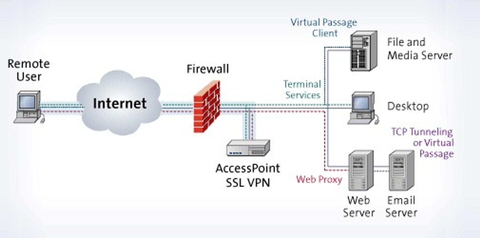 Menlologic bruker denne skissen til å forklare hva slags interne tjenester som kan tilbys gjennom deres SSL VPN.