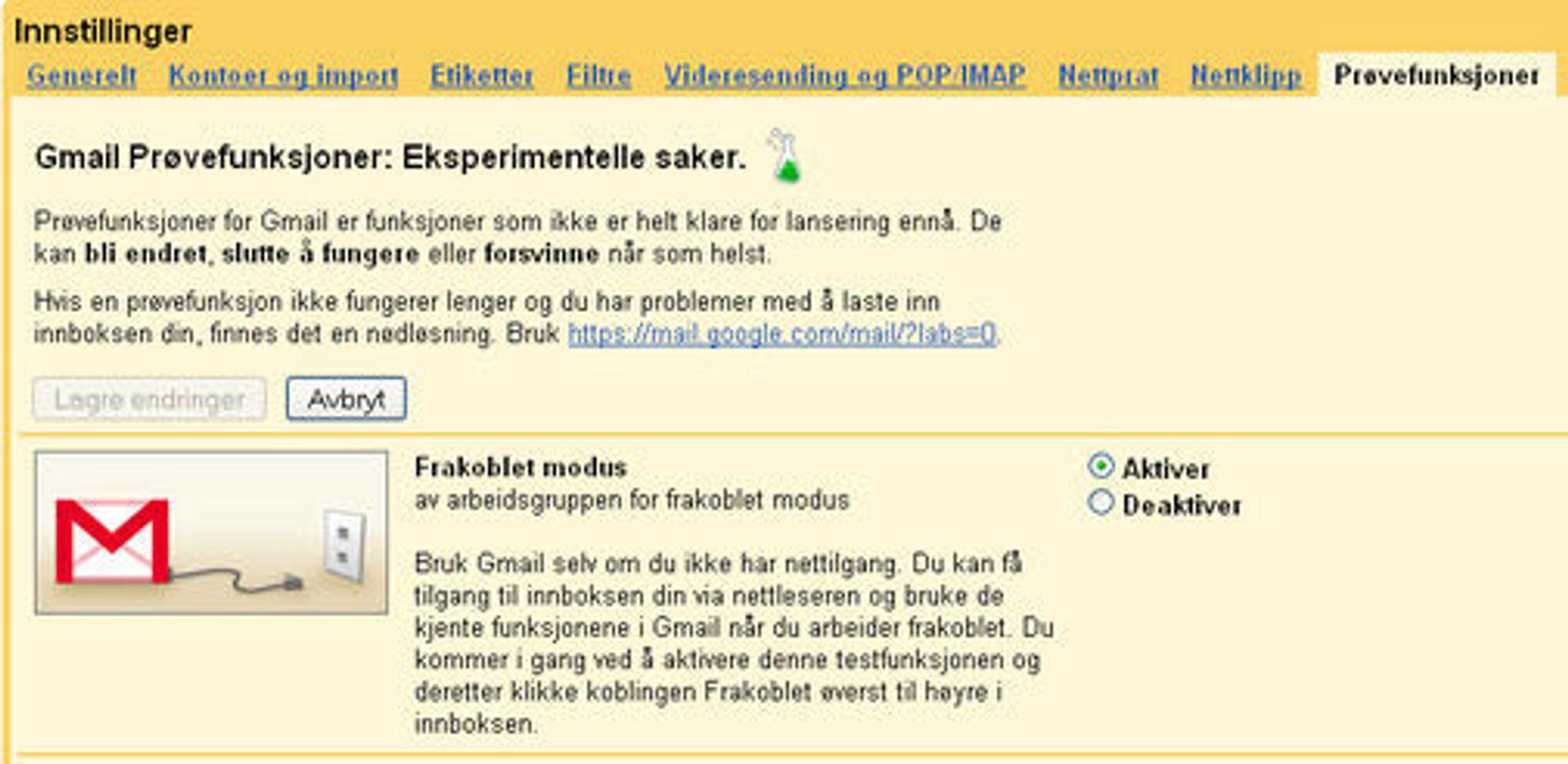 Aktivering av frakoblet modus i Gmail