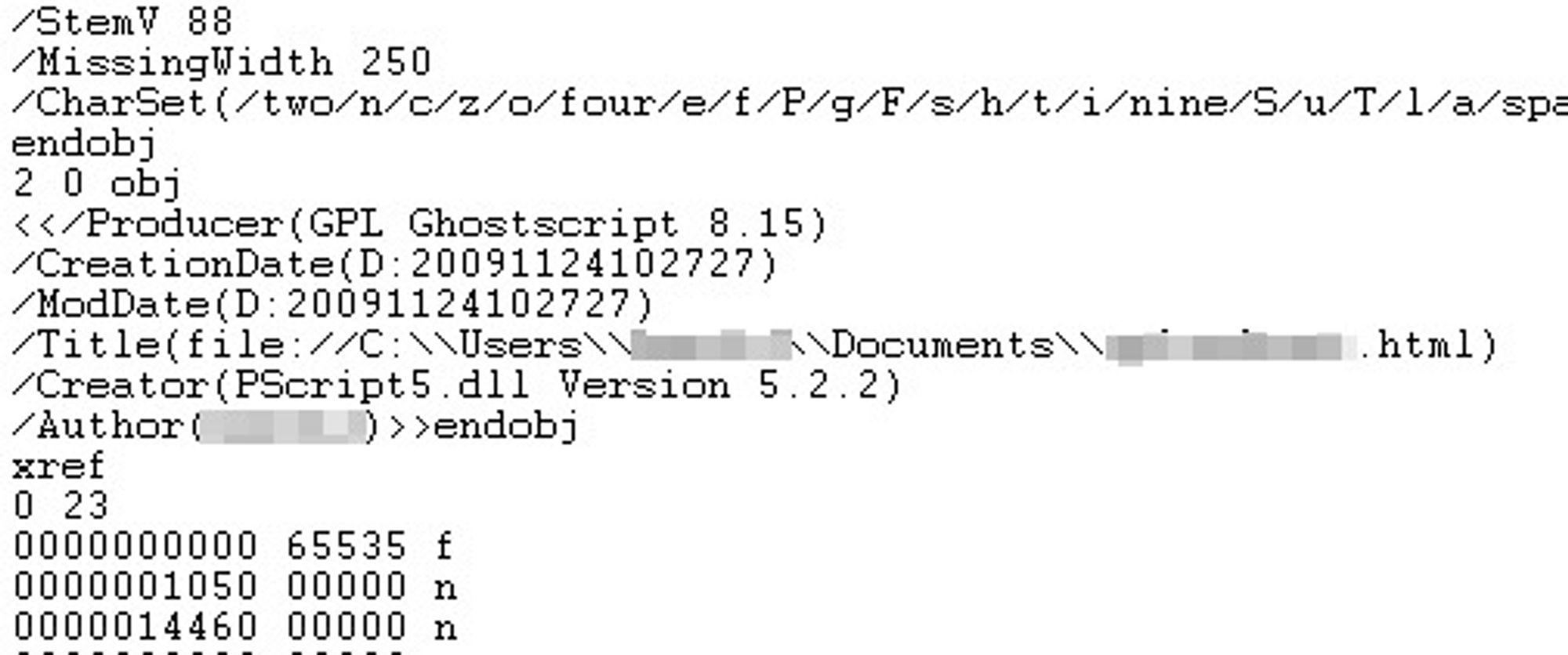 Linjen med /Title forteller i dette tilfellet hvor originalfilen til PDF-dokumentet befant seg da den ble skrevet ut til PDF med Internet Explorer.