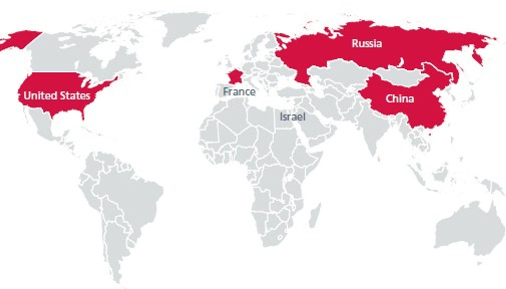Disse landene er kommet lengst i å utvikle kybervåpen. Eksperter mener det pågår et kybervåpenkappløp.