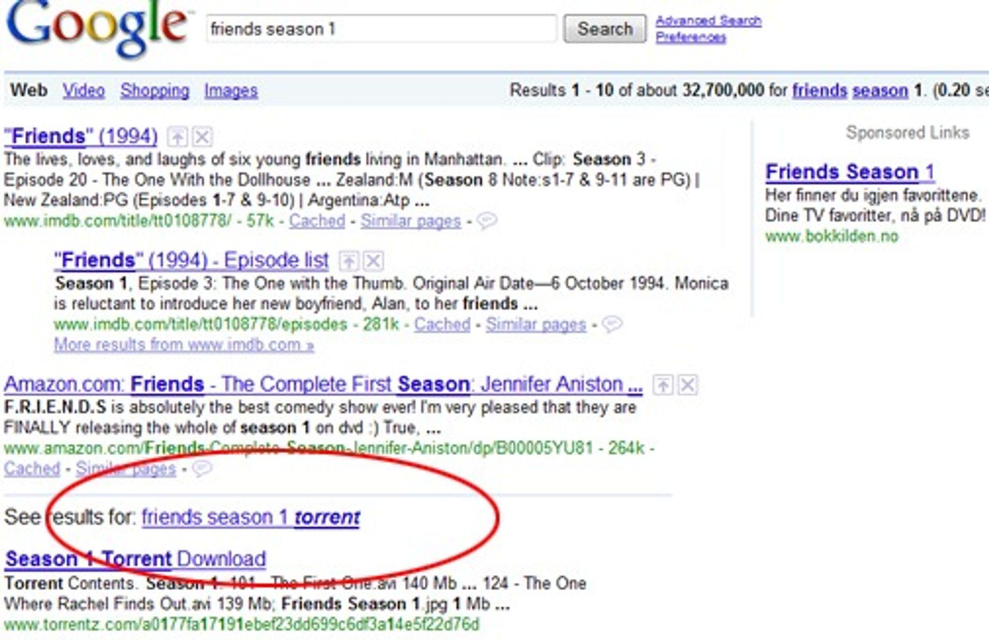 Google leverer både annonser til lovlig kjøp av tv-serien på DVD, samtidig som de anbefaler lenker til torrent-filer med det samme innholdet.