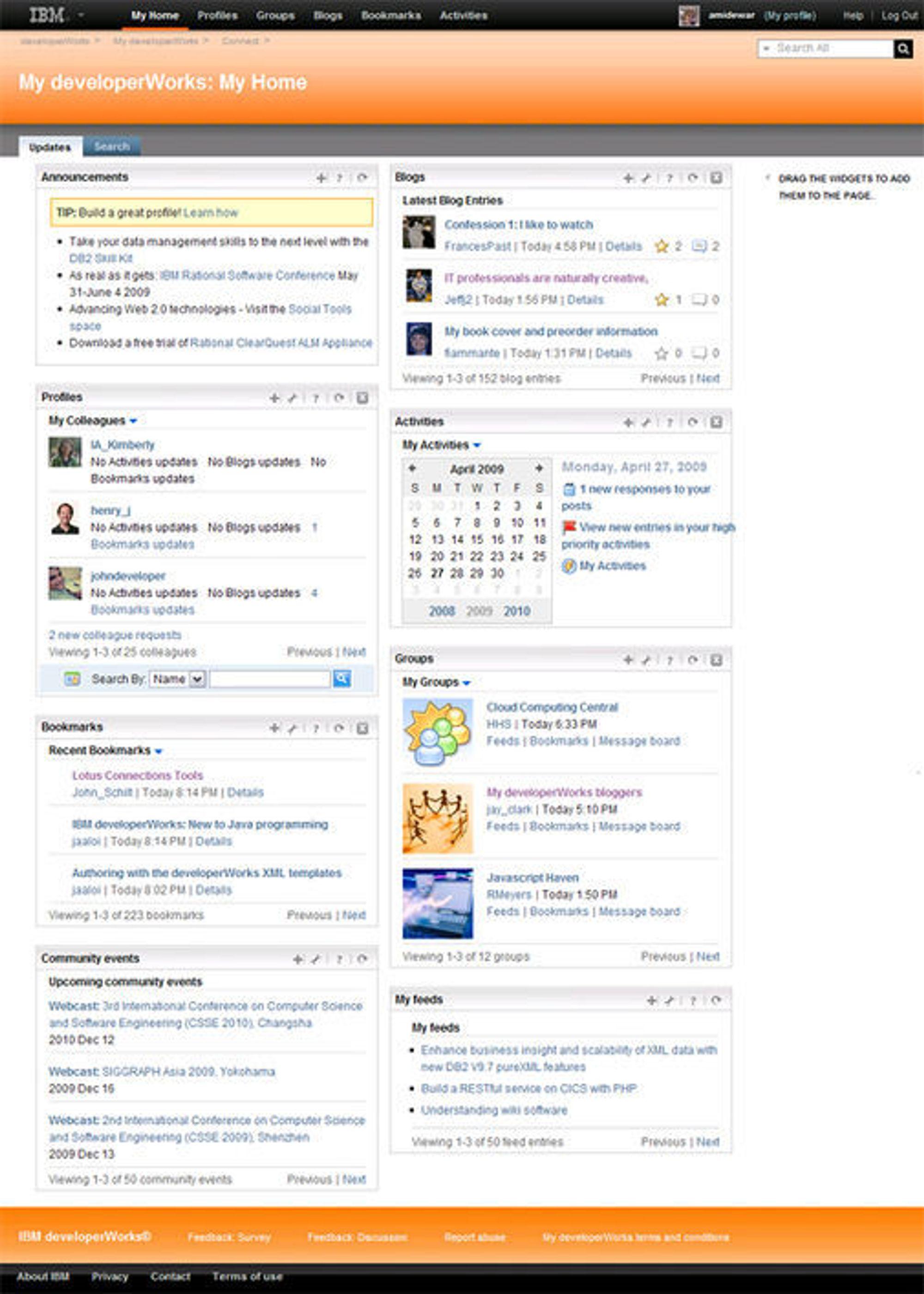 Eksempel på brukertilpasset hjemmeside i My developerWorks