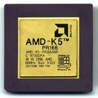 AMD K5 PR166 fra 1996. Foto: Wikimedia Commons. Lisens: GNU Free Documentation License.