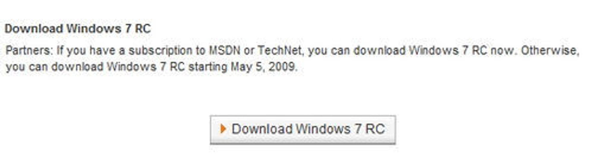 Utsnitt fra Microsofts Partner Program-side med nedlastingslenke til Windows 7 RC. Bilde: Arstechnica.