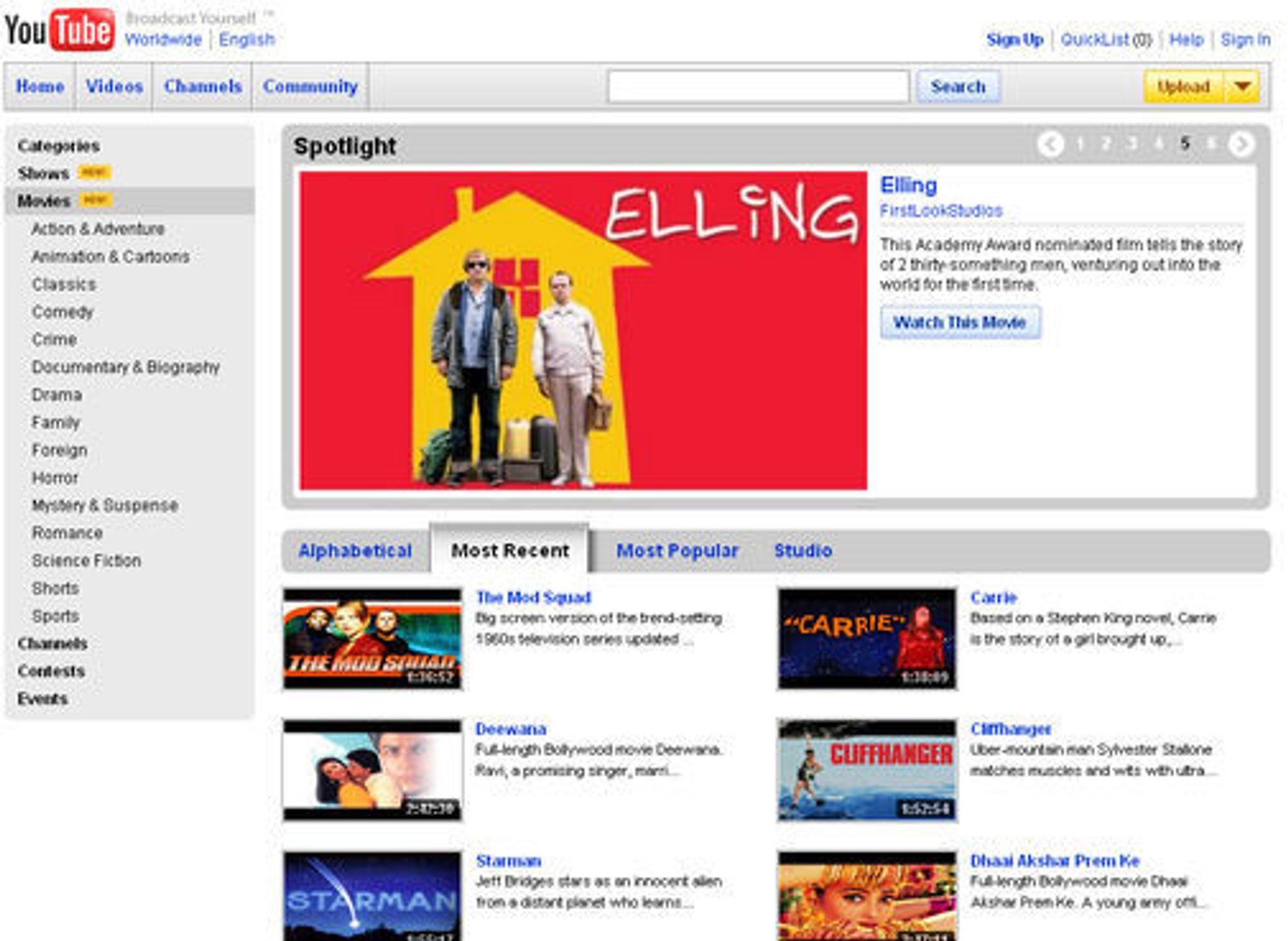 Norske «Elling» er blant filmene som nå tilbys på Youtube, men bare i USA.