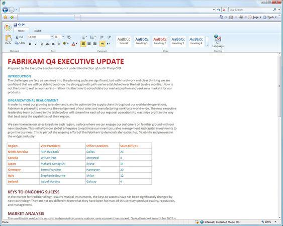 Redigering i tidlig utgave av Microsoft Office Web Word