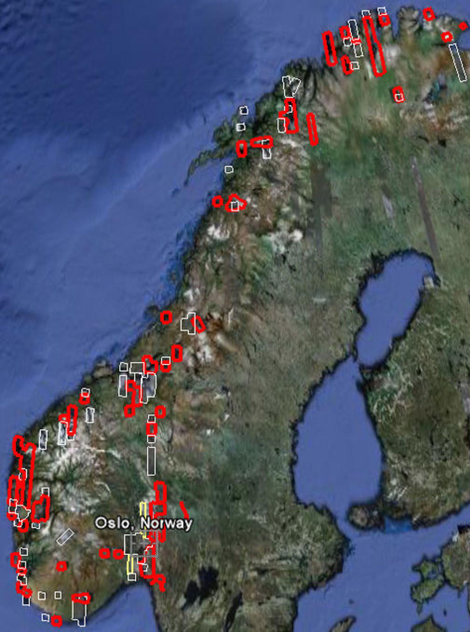 "Områder med ""høyoppløst"" bildemateriale i Norge. Utvalg: Knut Håkon Frølich"