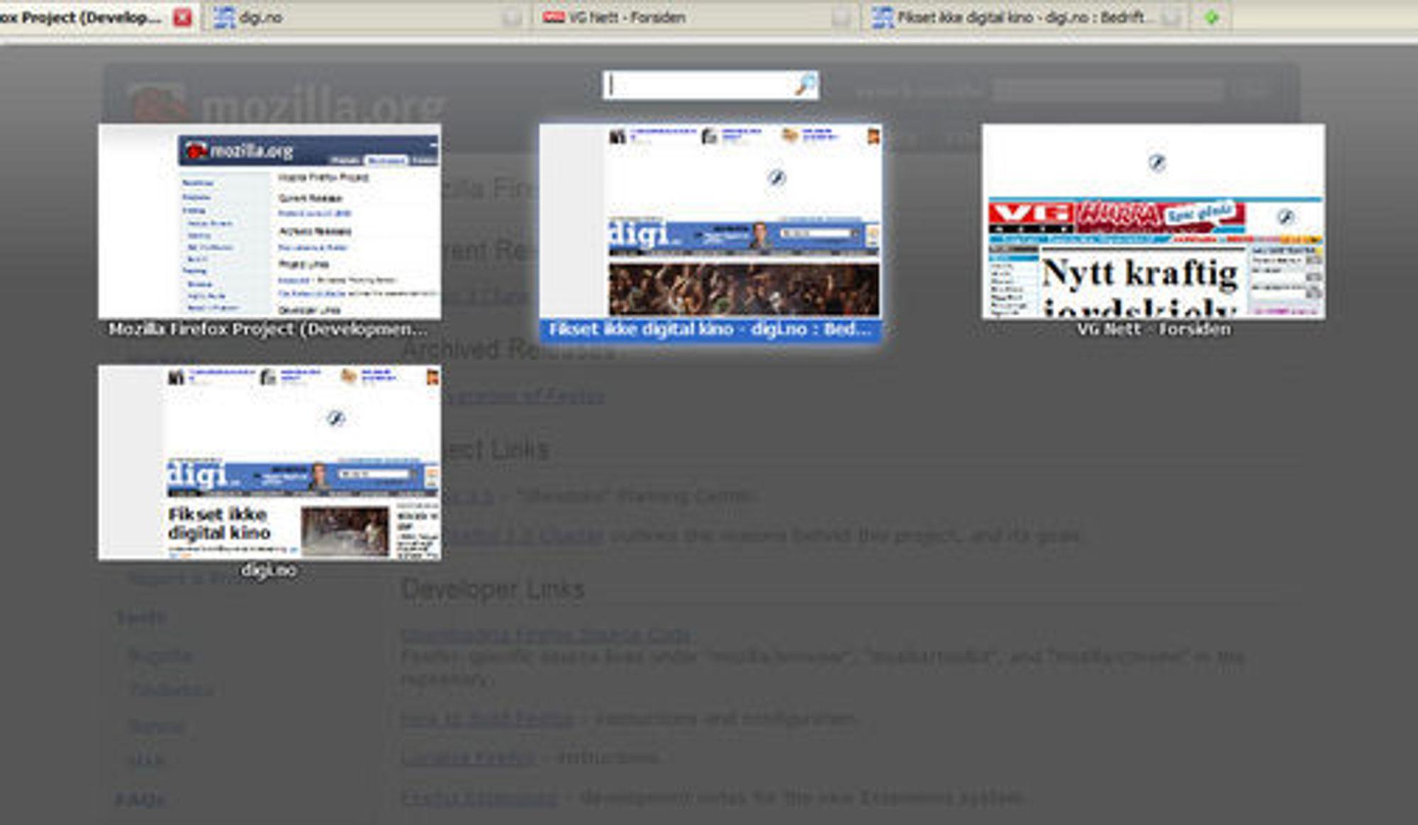 Søk blant de åpne fanene i Firefox 3.6.