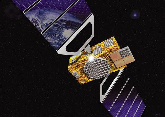 Tenkt Galileo-satellitt. Illustrasjon: ESA-J.Huart