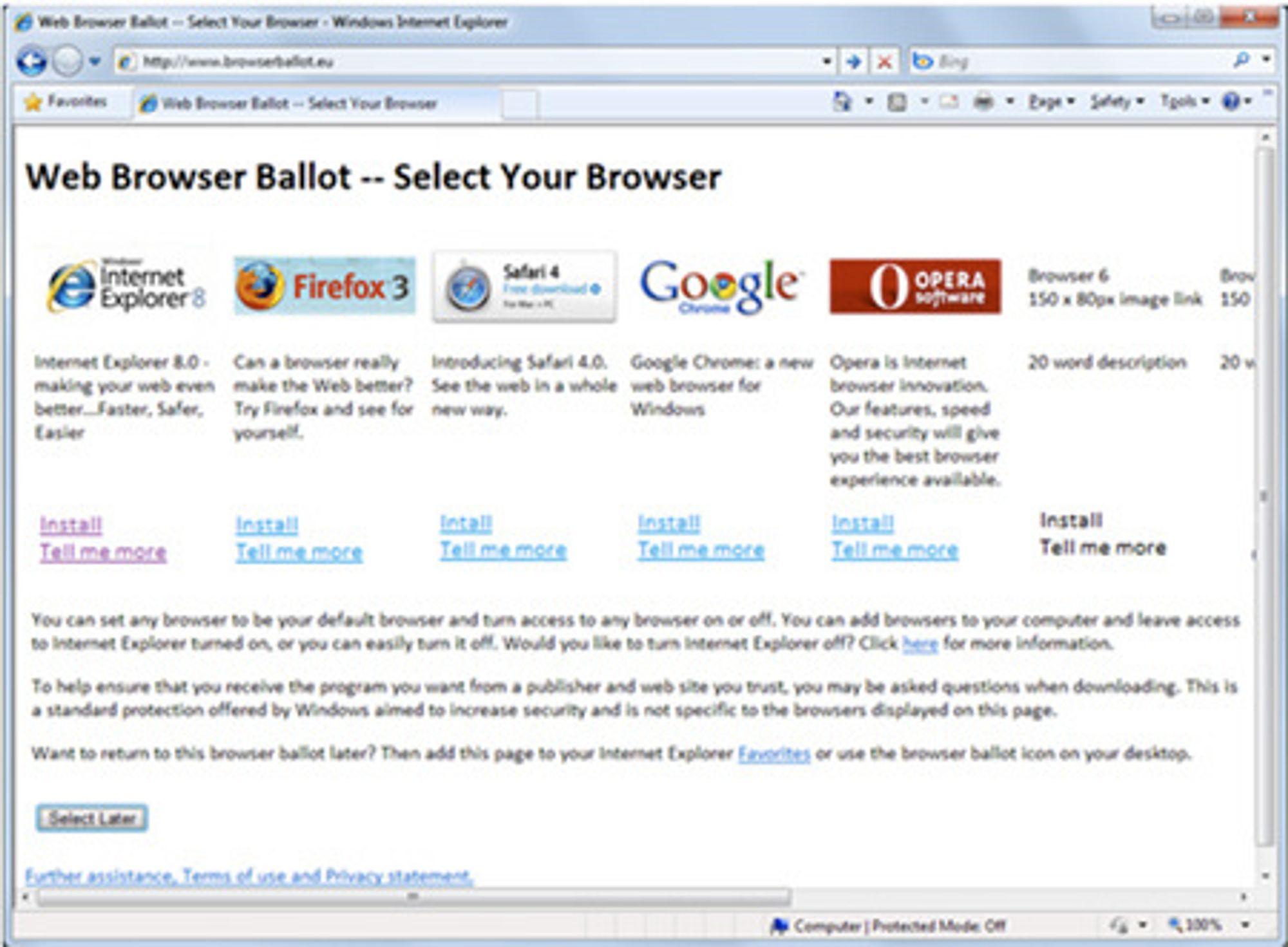 Slik fremstår Microsofts foreslåtte nettleser-valg i Windows 7, ifølge The Register.