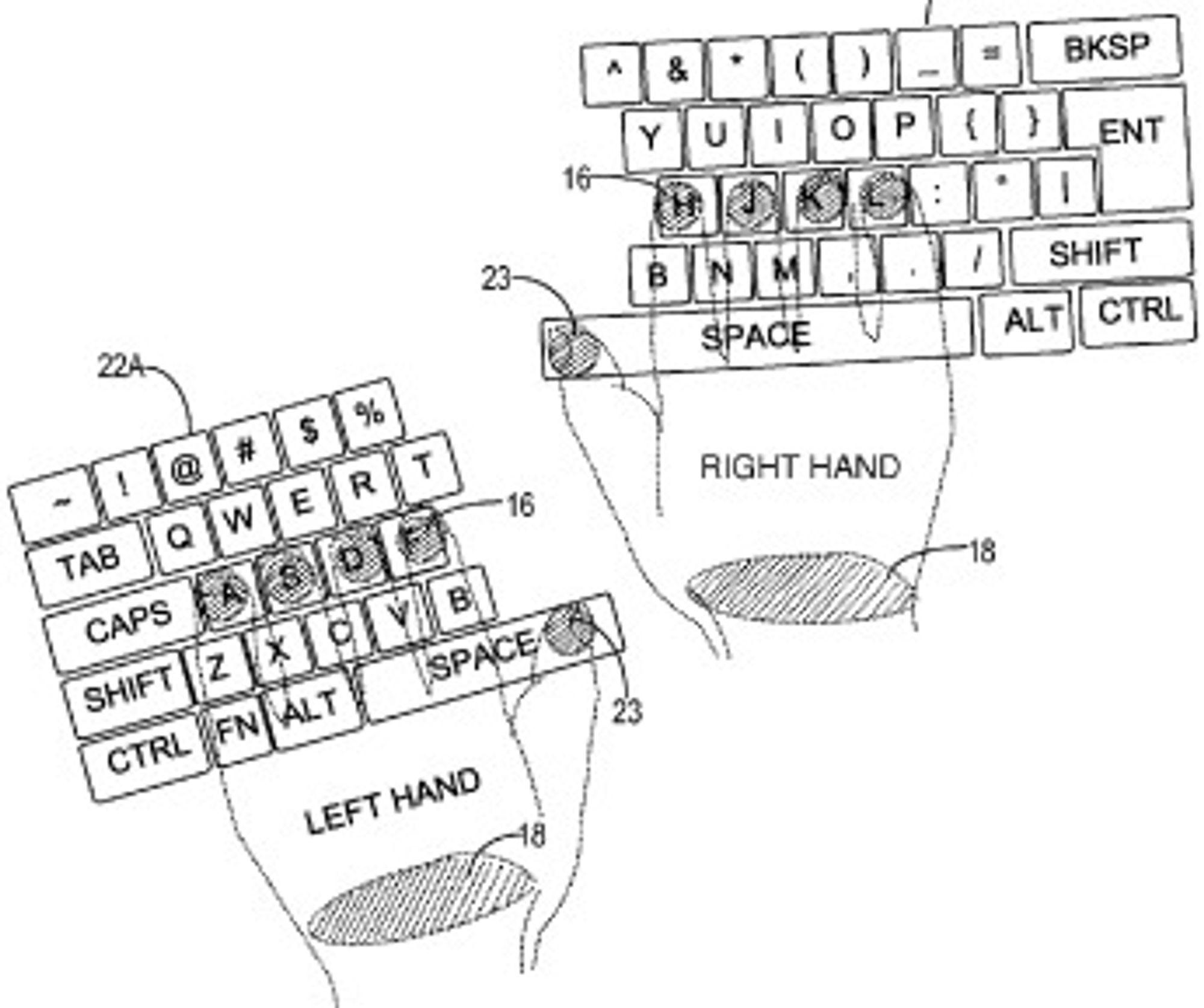 Tastaturet kan deles i to, avhengig av hvor brukeren plasserer venstre og høyre hånd. Ergonomisk sett kan dette være en fordel.