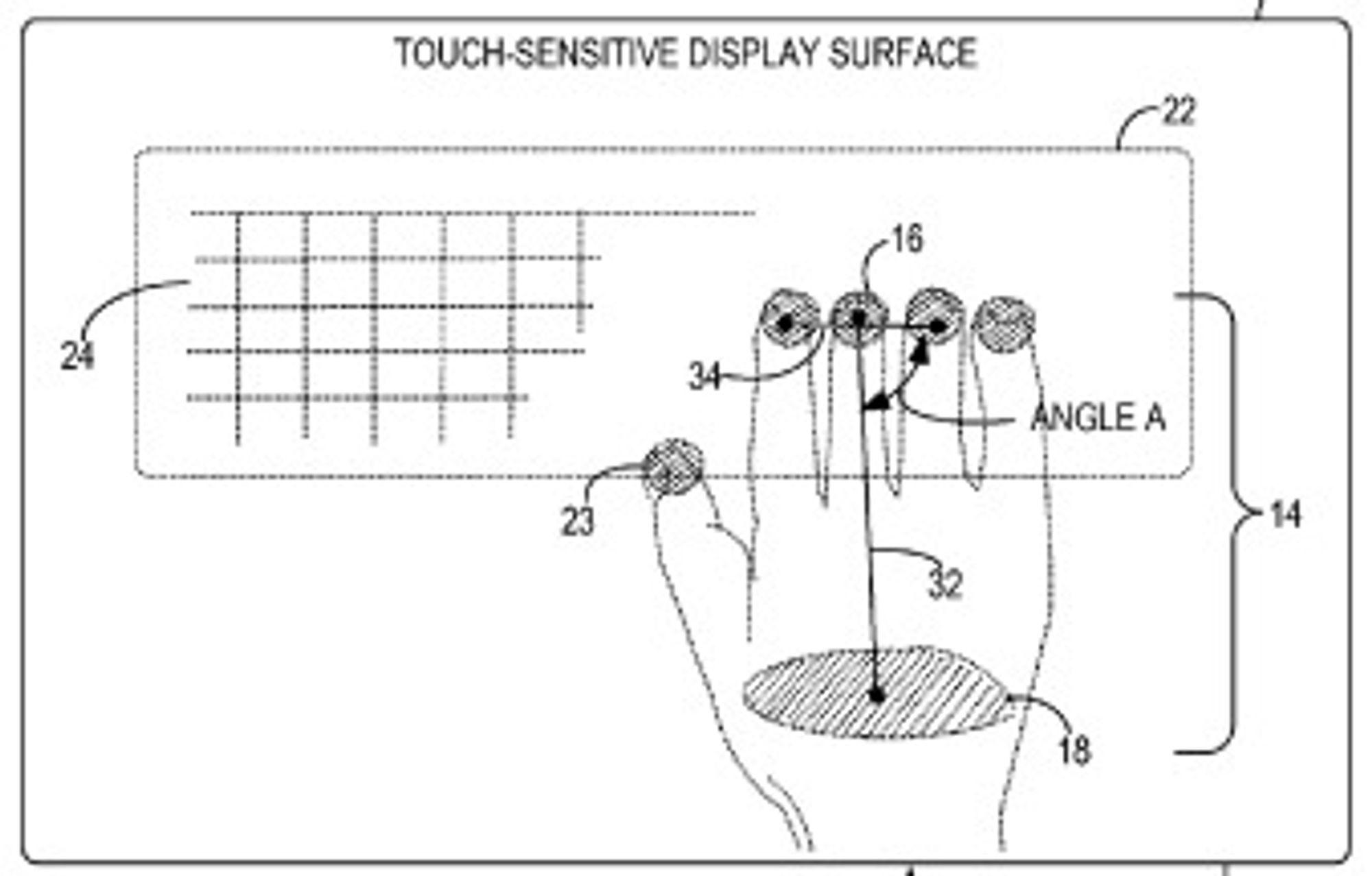 Tastaturet legges ut automatisk straks skjermen merker brukerens håndflate og minst én finger.