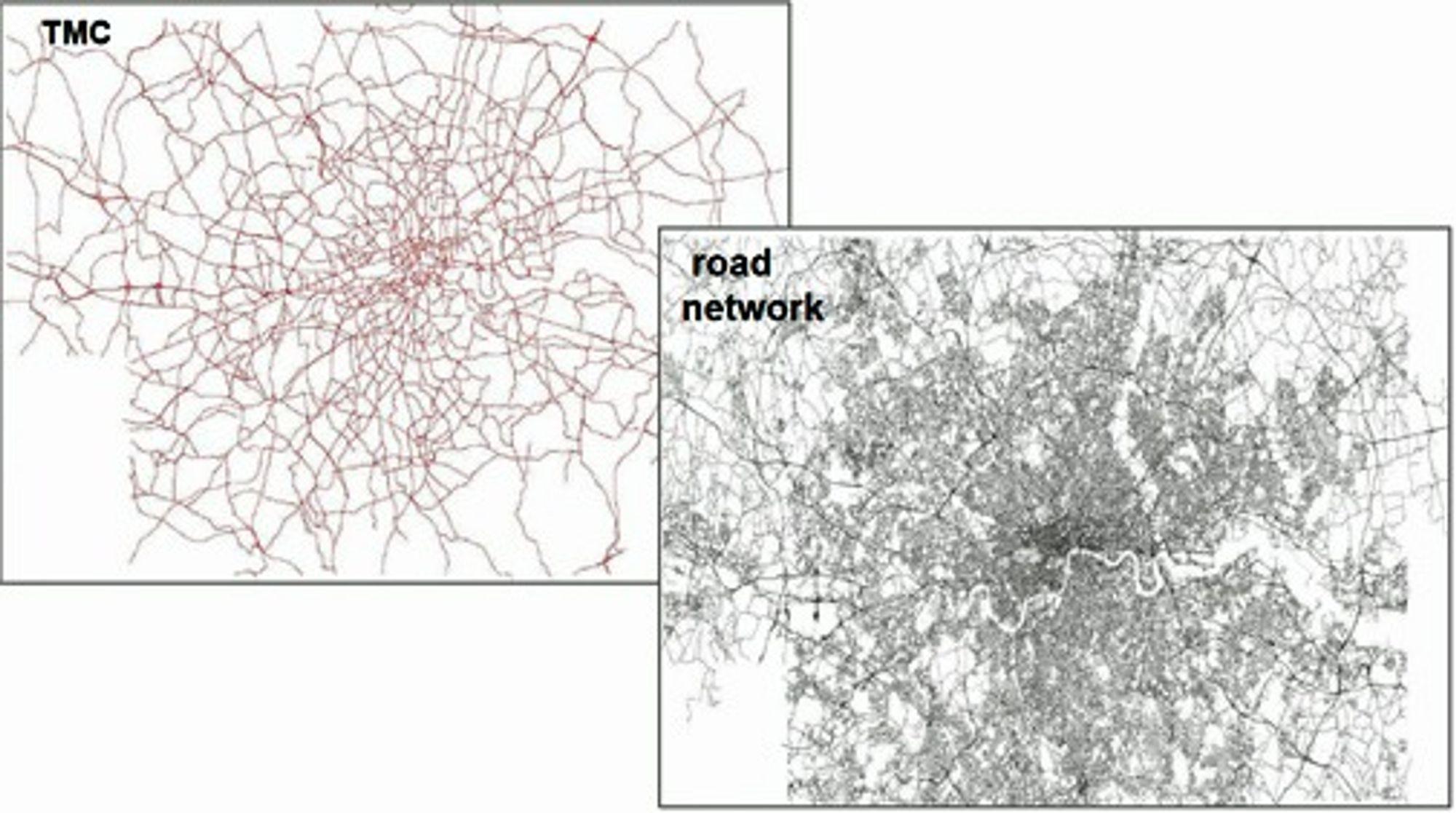 TMC-inforamsjonen for London, sammenlignet med det faktiske veinettet. Illustrasjon: TomTom.