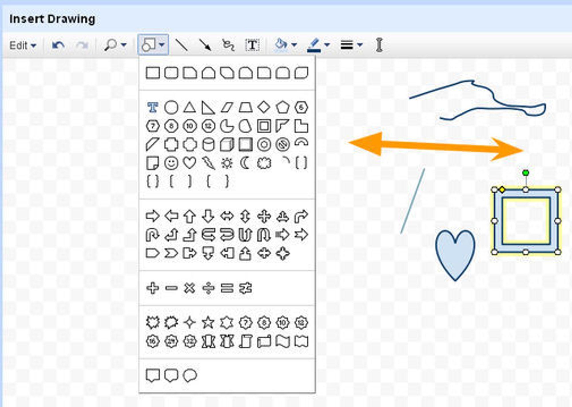 Google Docs'  Insert Drawing-funksjon