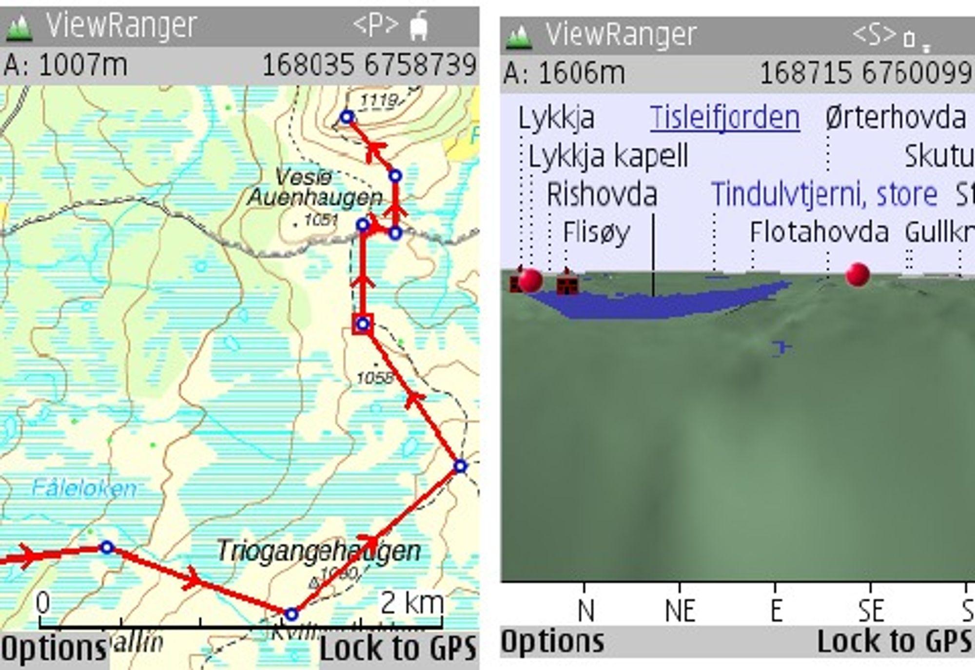 Viewranger med henholdsvis ruteplanlegging og panorama.