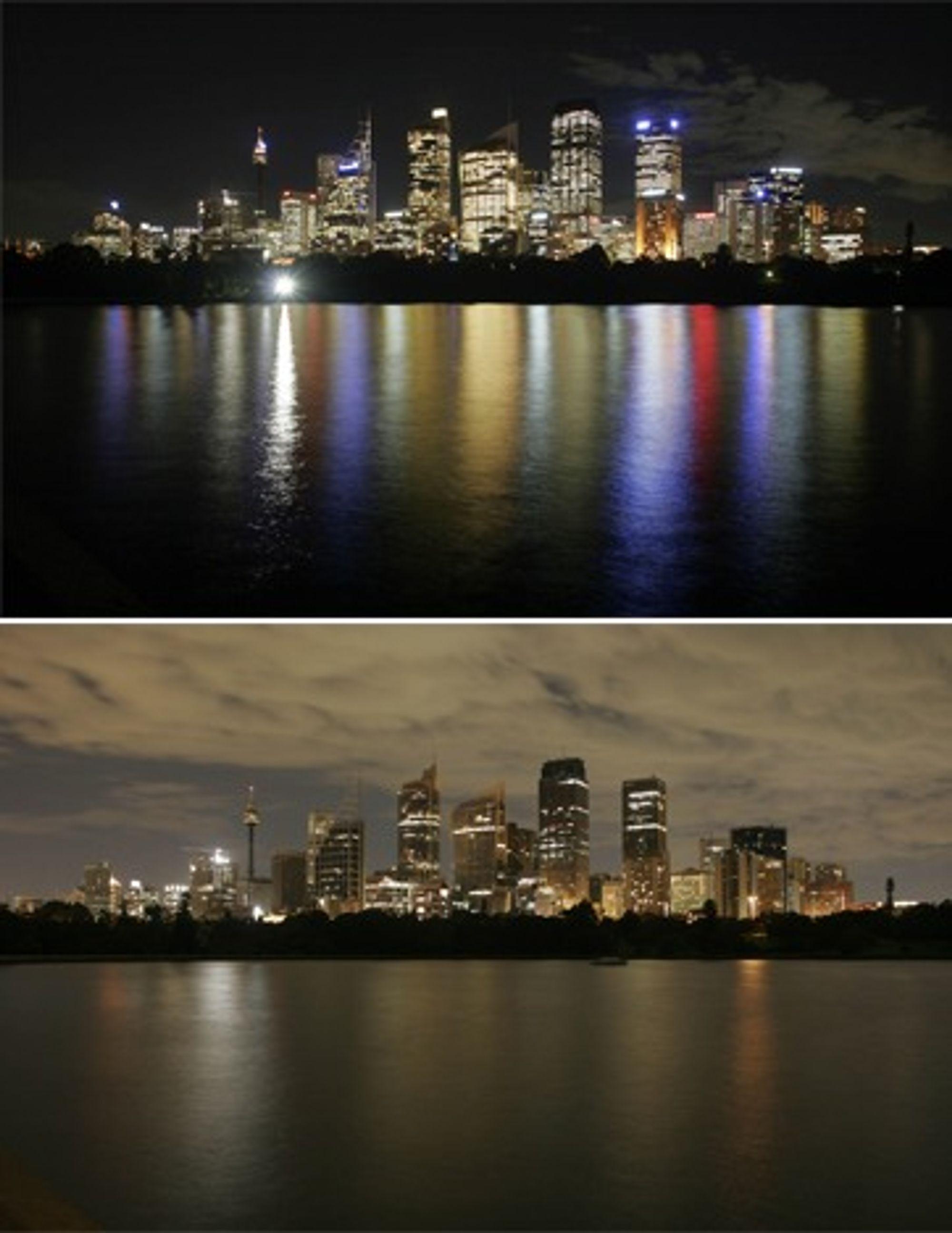 Sydney før og under Earth Hour.