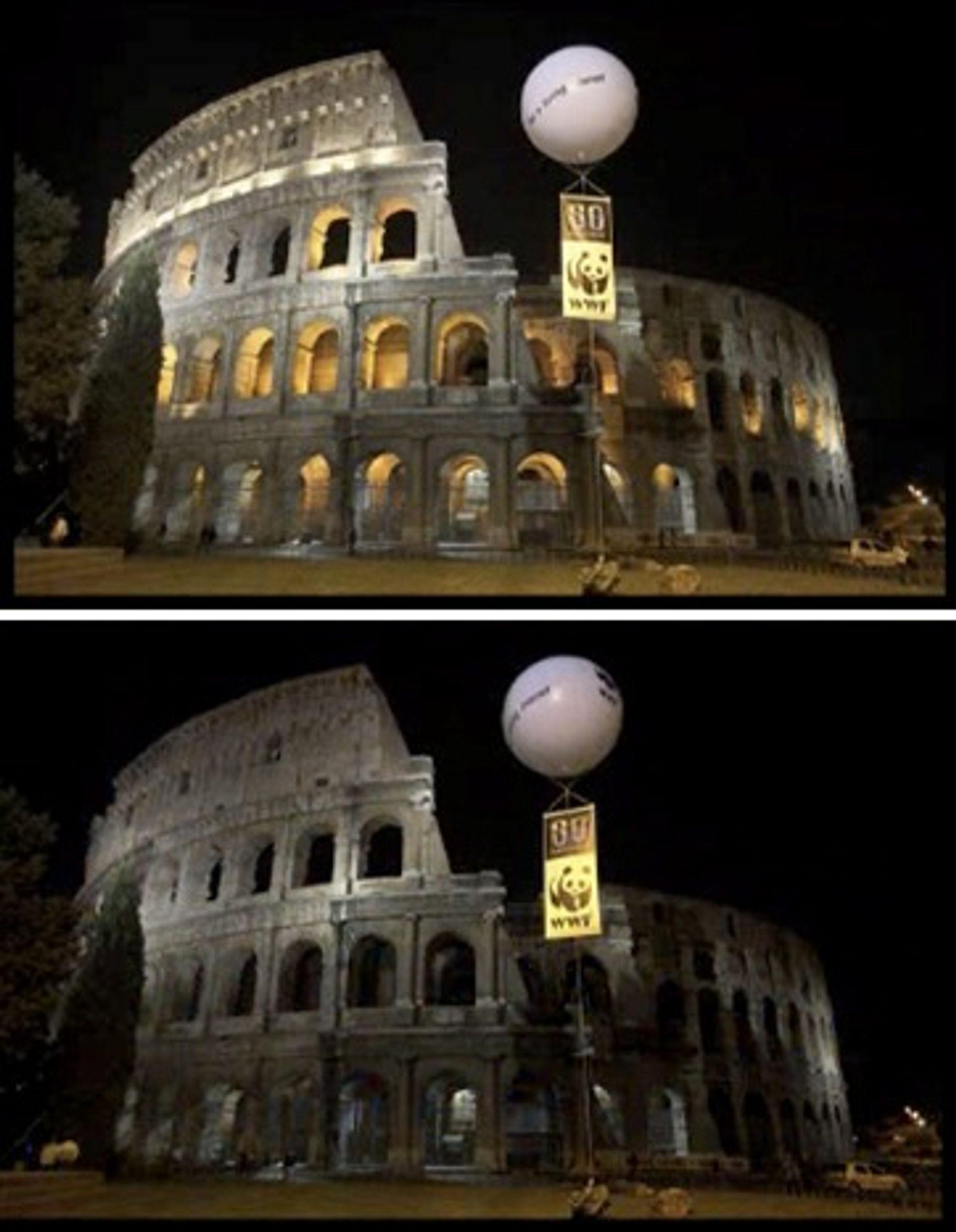 Roma før og under Earth Hour.