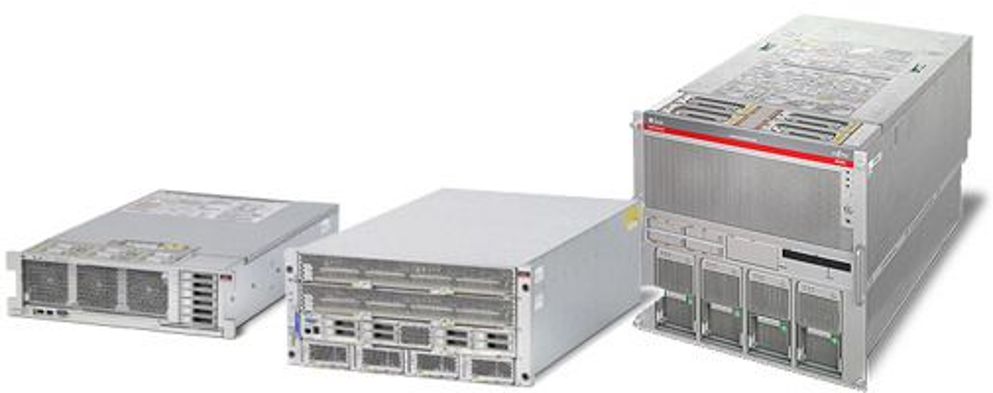 Disse serverne går igjen i Oracles nye integrerte løsninger, fra venstre: Sparc T3-2, Sparc T3-4 og Sparc M5000.