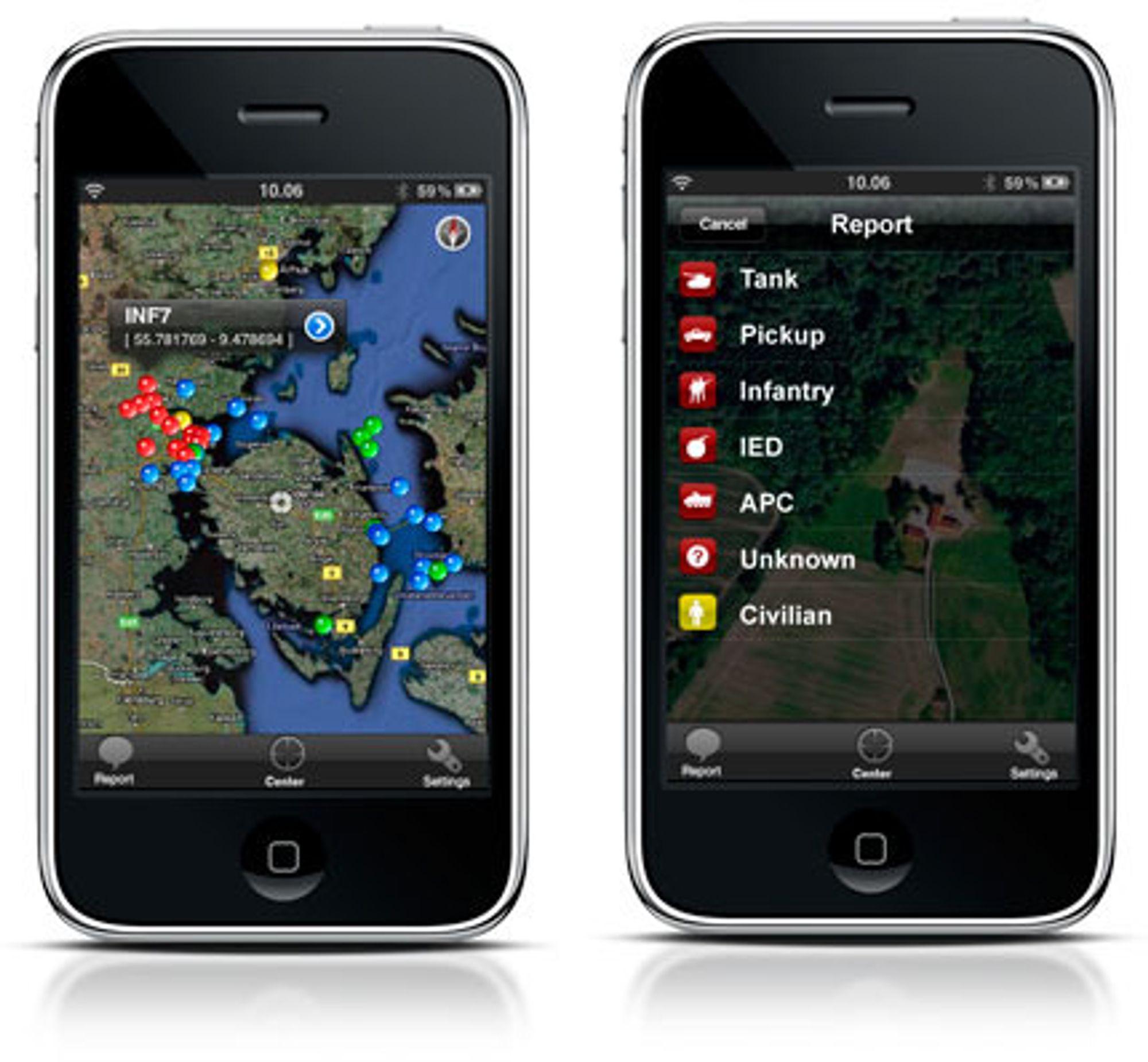 Tidlig utgave av Systematics Situation Awareness-applikasjon til iPhone.