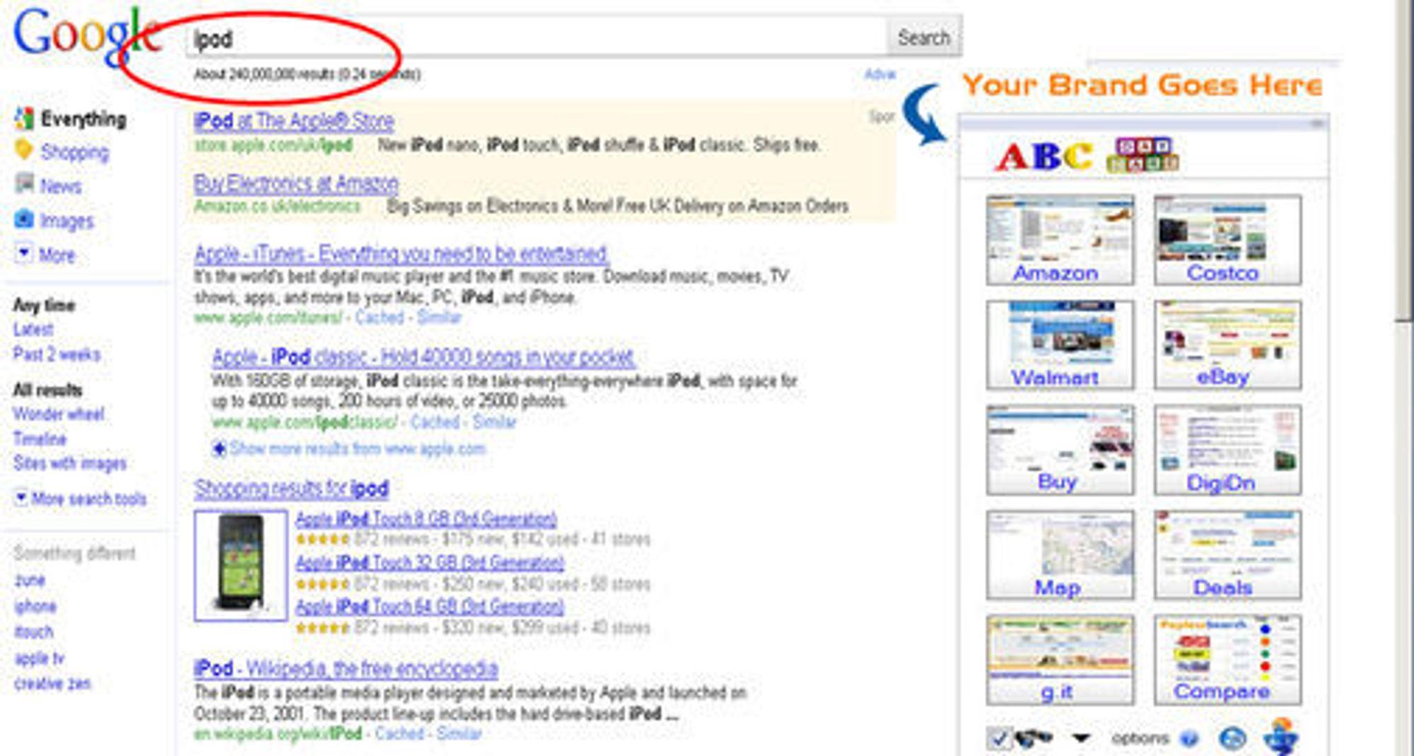 Genie integrerer seg i søkeresultatene, der den erstatter Googles egne betalte annonser.