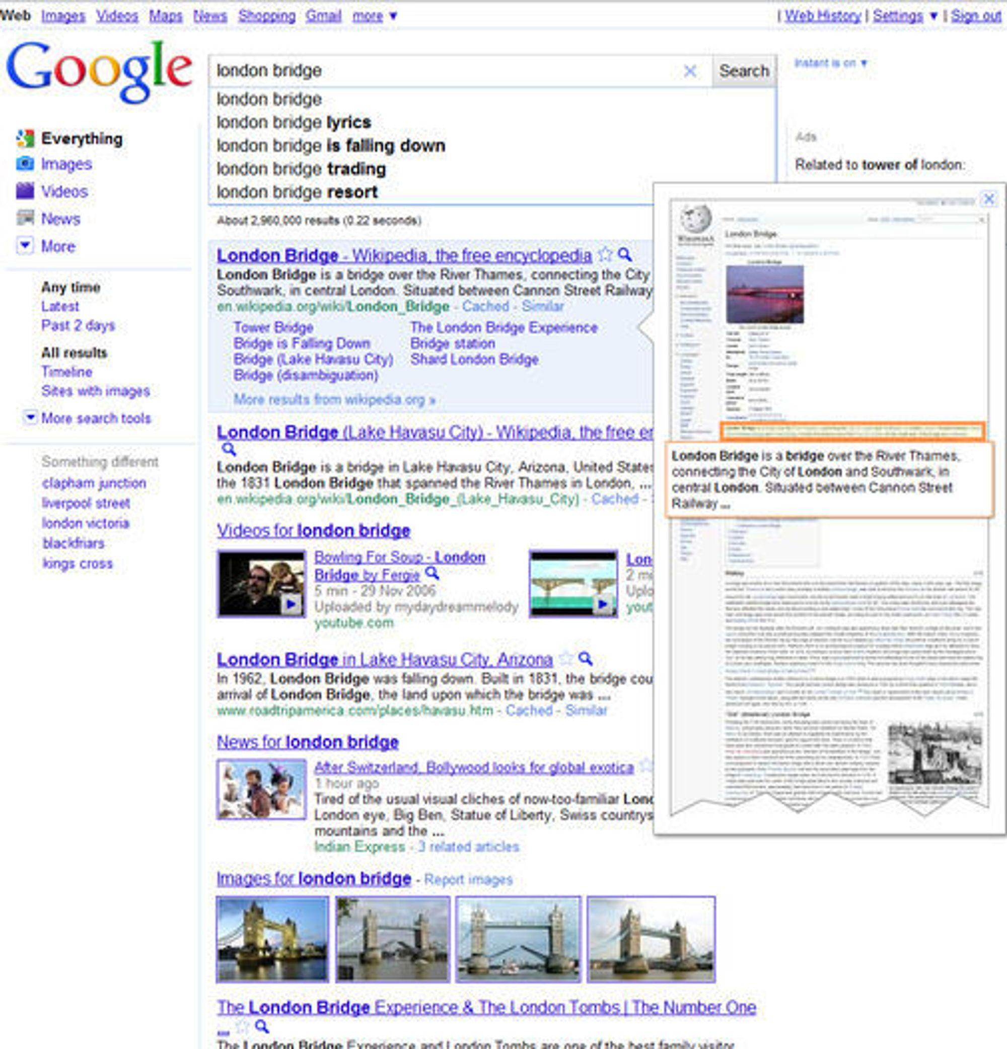 Google Instant Previews gjør det svært raskt å se hvordan websiden bak hvert søkeresultat ser ut.