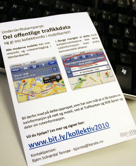 Krever ruteopplysninger i mobilkartet: Tennøe delte ut løpesedler på årets Javazone-konferanse.