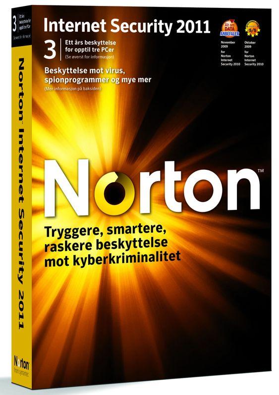 Norton Internet Security 2011 kan installeres på tre ulike pc-er.