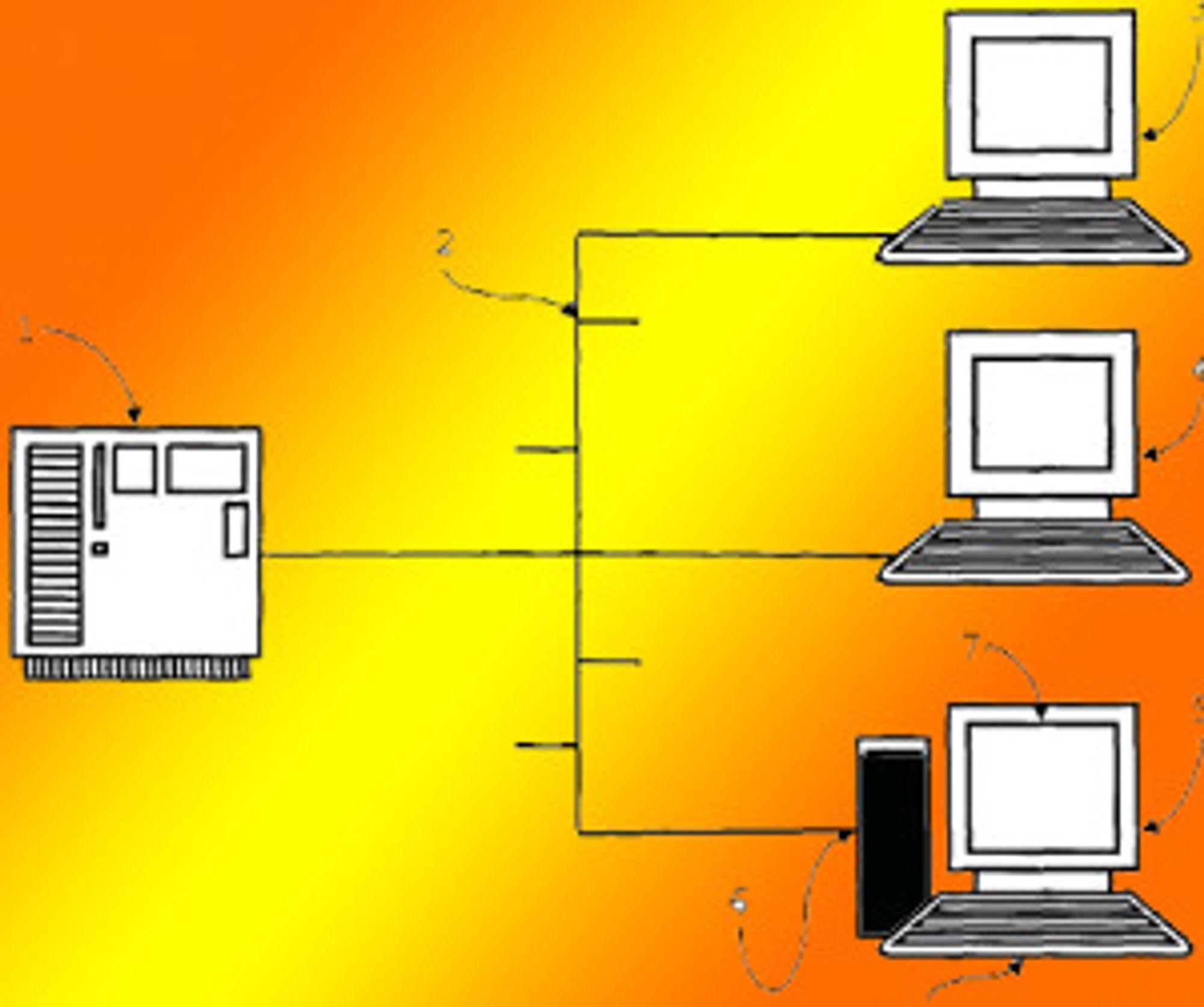 Serveren leverer virtuelle arbeidsflater til både tynne klienter (de to øverste) og fysiske pc-er. Prosessorkraften på pc-en kan brukes til å kjøre applikasjoner lokalt fra den virtuelle arbeidsflaten fra serveren. Skissen er hentet fra patentet.