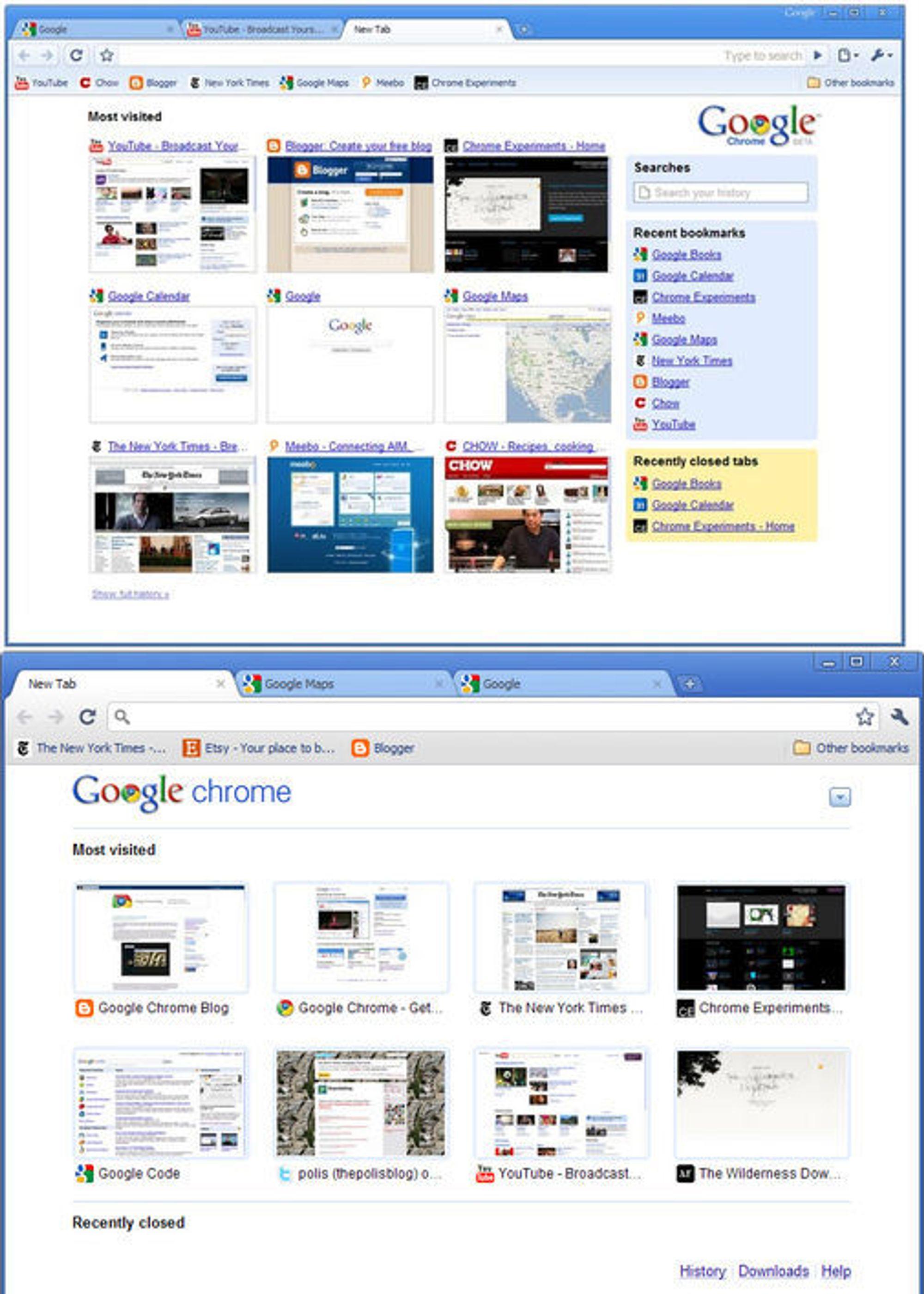 Google Chrome 1 beta (øverst) sammenlignet med Chrome 6 (nederst).