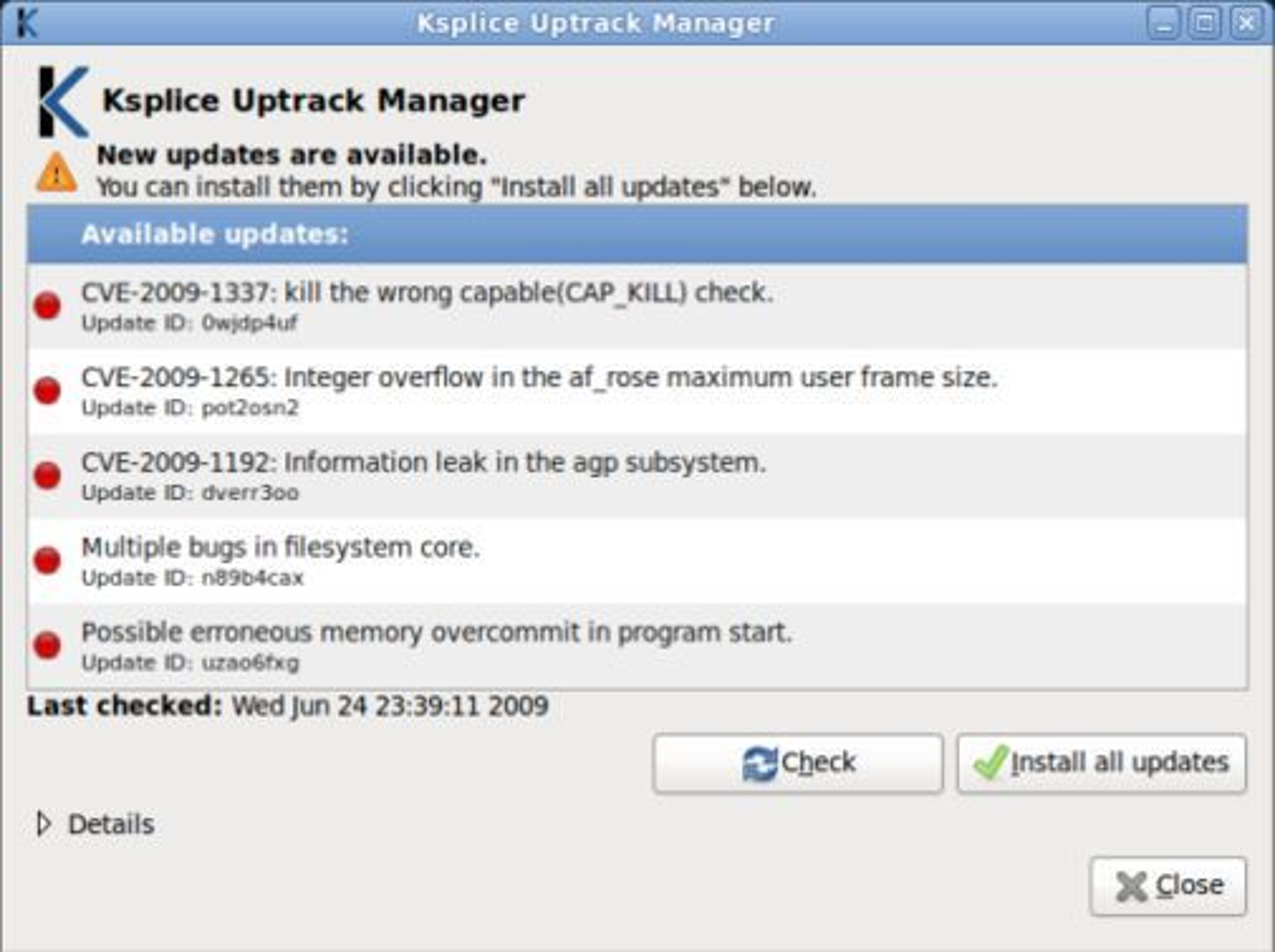 Ksplice Uptrack Manager varsler brukeren når nye oppdateringer er tilgjengelige.