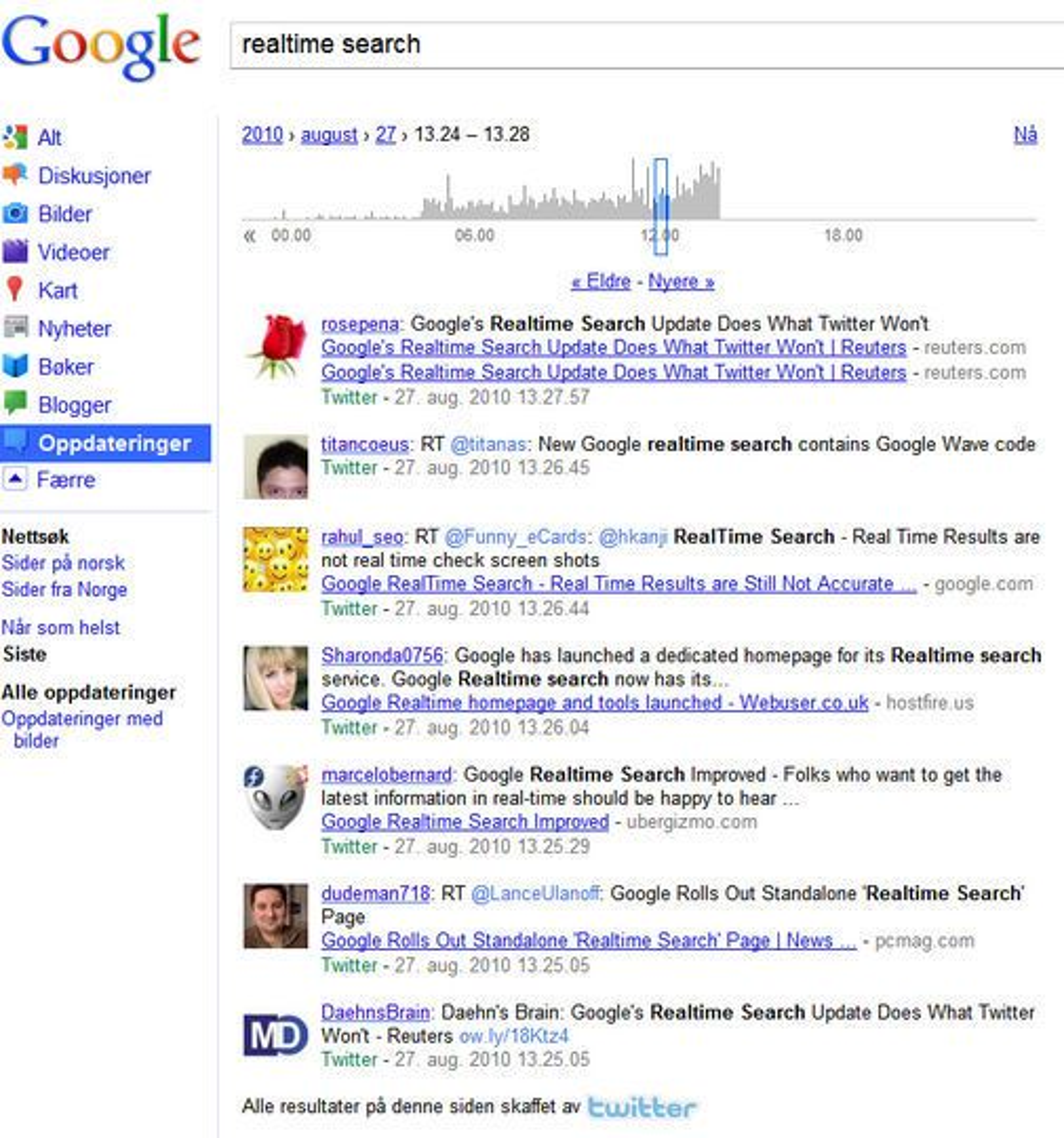 Googles sannstidsøk viser de nyeste meldingene om temaet man søker etter. Resultatene stammer først og fremst fra Twitter.