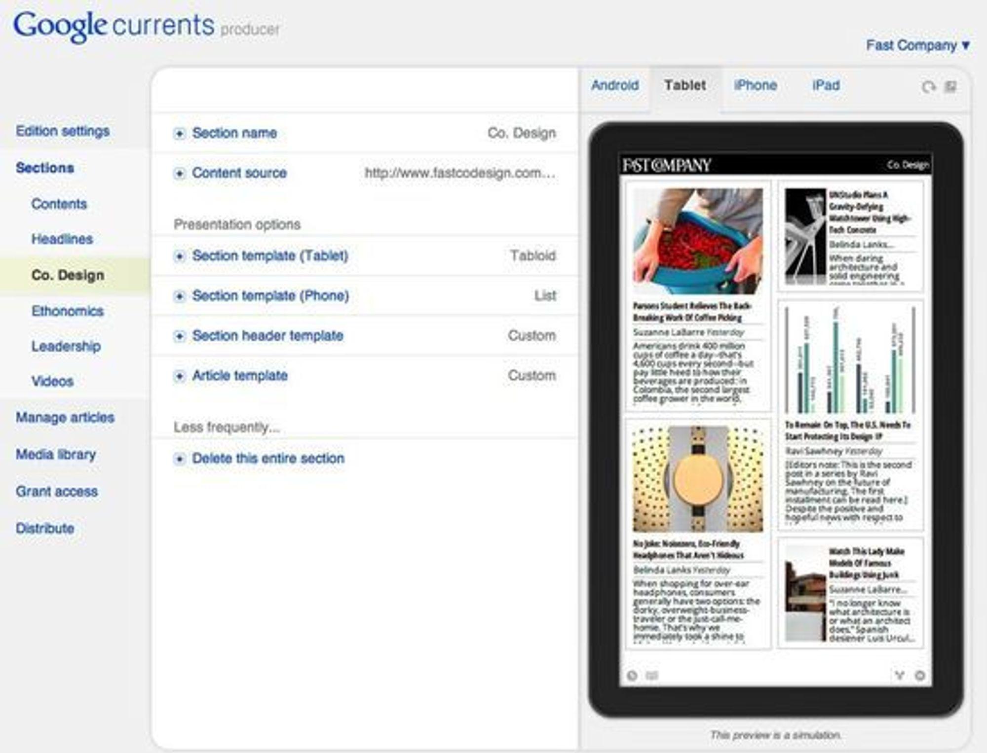 Google Currents Producer, verktøyet hvor innholdsleverandører kan opprette en Currents-utgave av innholdet.