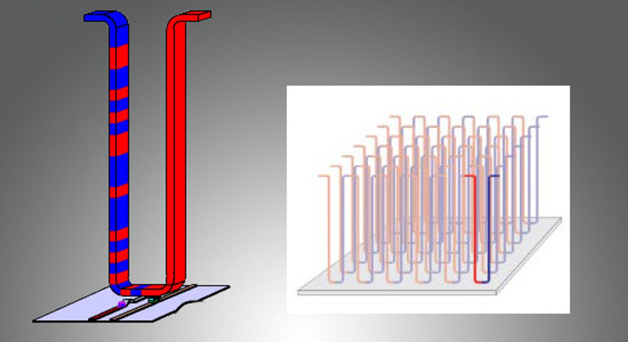 Prinsippet for «racetrack» minne: Til venstre en nanotråd, til høyre en matrise av nanotråder som står loddrett på planet med lese- og skrivehoder. De blå feltene på skissen til venstre viser hvordan hver tråd kan lagre flere bit med informasjon. Elektriske pulser i trådens endepunkter sender områdene med magnetisk lagret informasjon fram og tilbake i tråden, slik at de kan leses eller overskrives. Poenget er at data lagres magnetisk, og kan leses og skrives uten å bevege det magnetiske lagringsmediet.