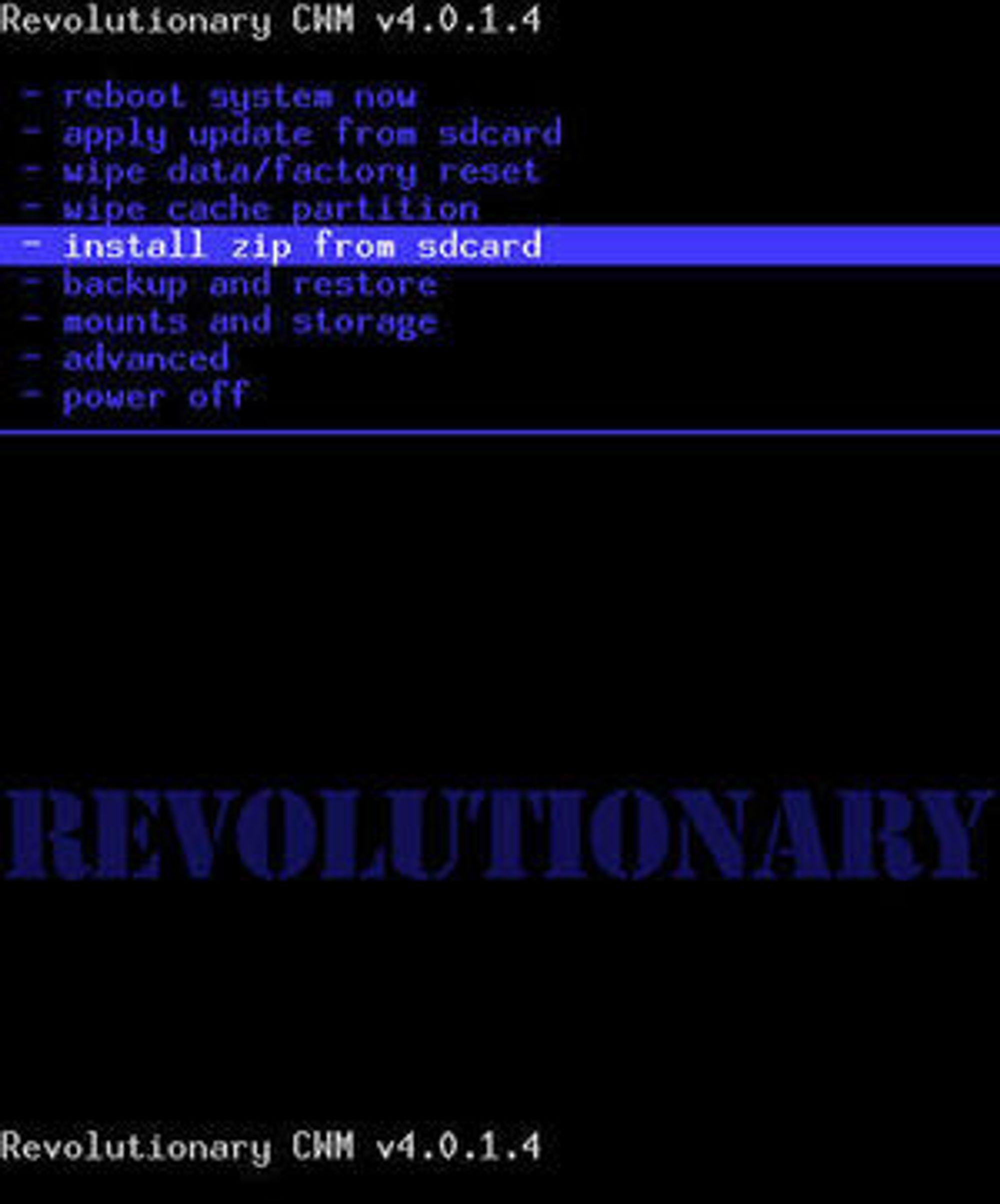 Velg i installere zip-filen fra SD-minnekortet fra menyen i Revolutionary.