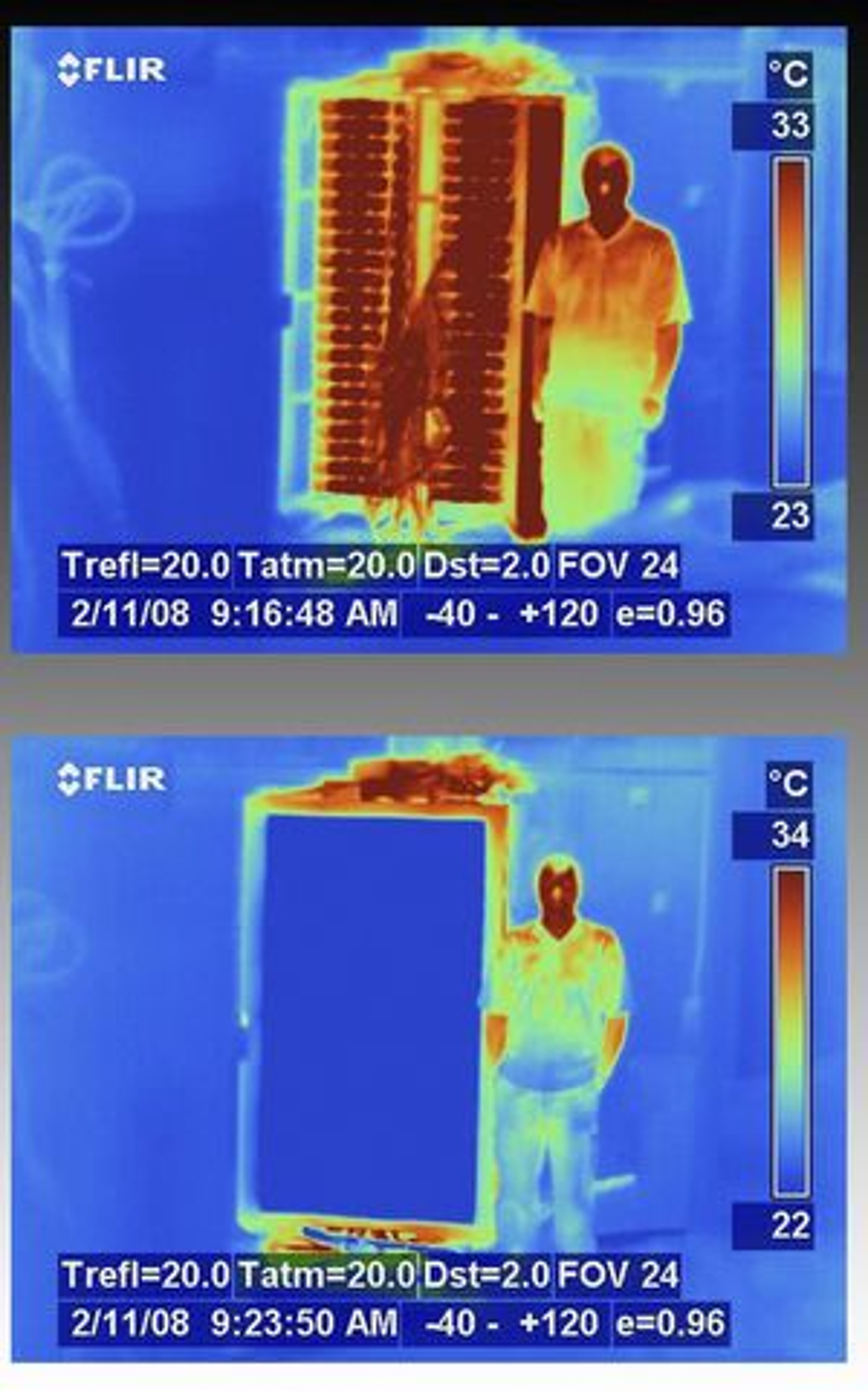 Ved å erstatte den bakre veggen med IBMs vannavkjølte varmeveksler, slipper man klimaanlegg i datarommet.