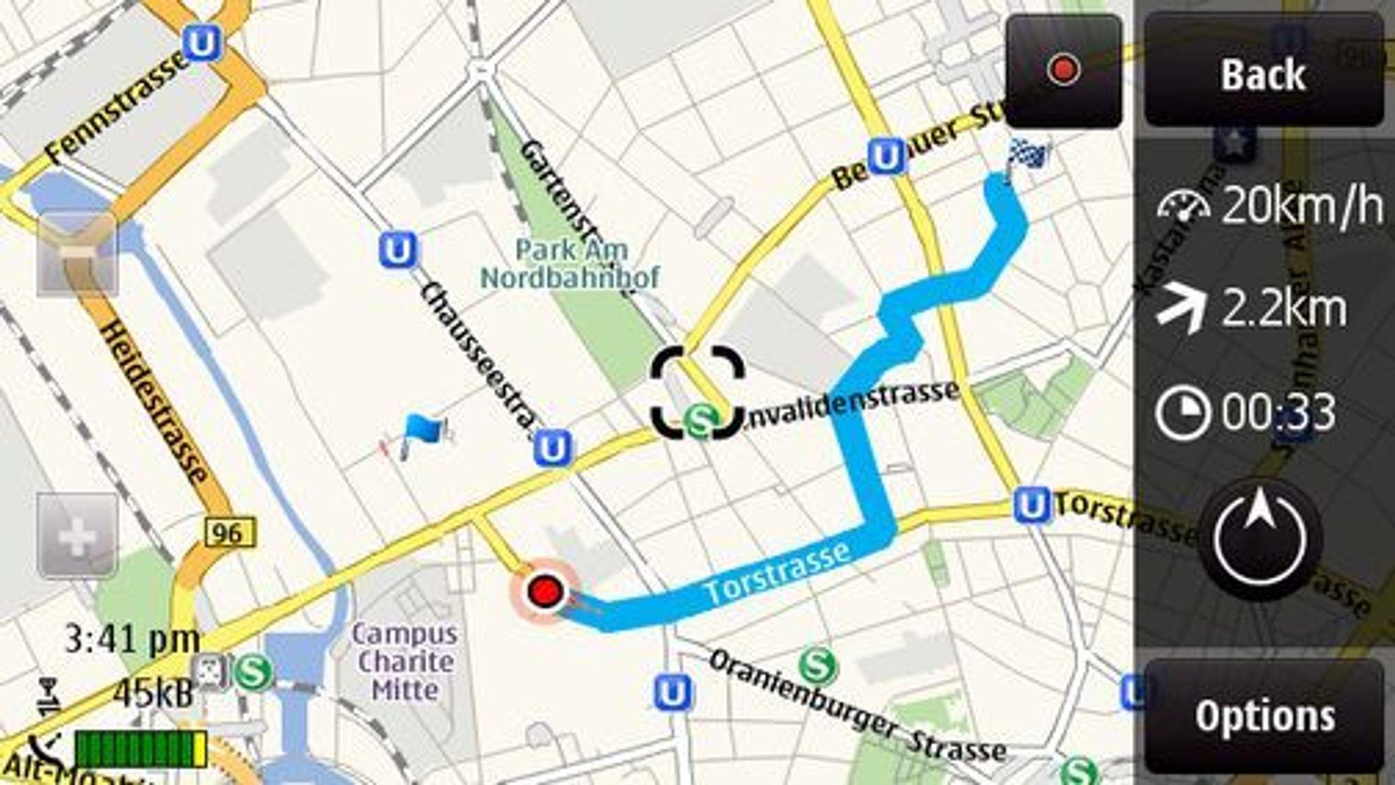 Ovi Maps med gratis navigasjon for fotgjengere.