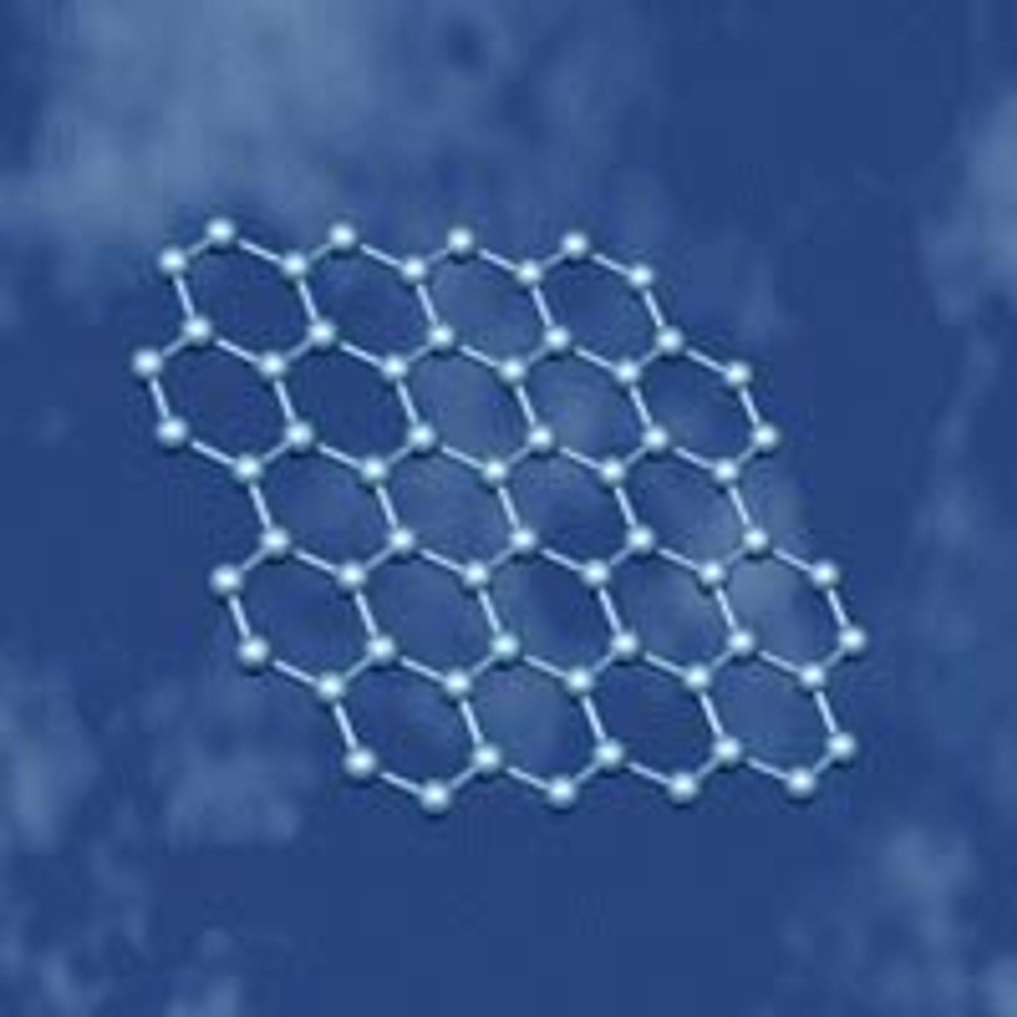 Grafen er et karbonmateriale med bikakestruktur.