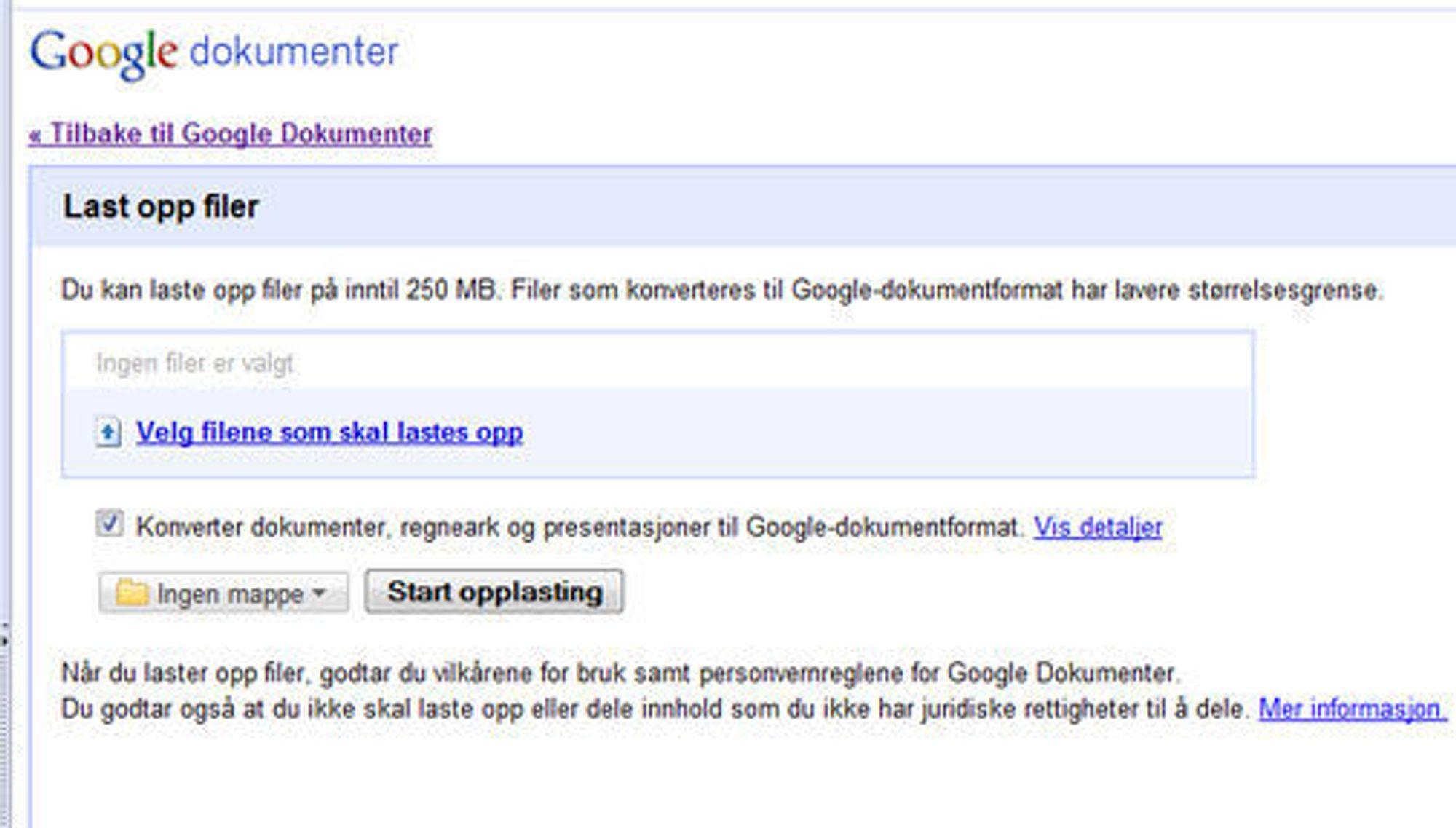 Filopplasting i Google Docs.