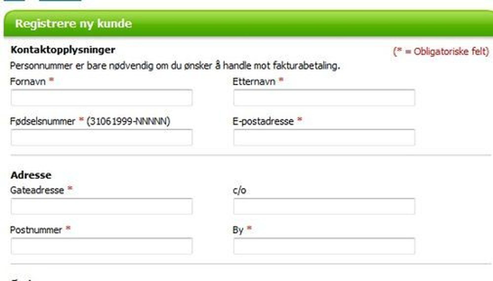 Eksempel på at kjent nettbutikk rette mot norske kunder krever fødselsnummer ved fakturabetaling.