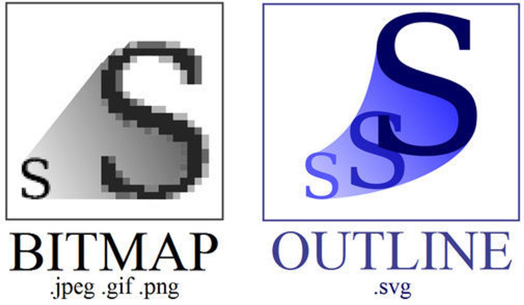 Fordelen med vektorgrafikk (til høyre) kommer særlig når man skalerer opp bilder. Vanlig punktgrafikk (bitmap) vises til venstre.