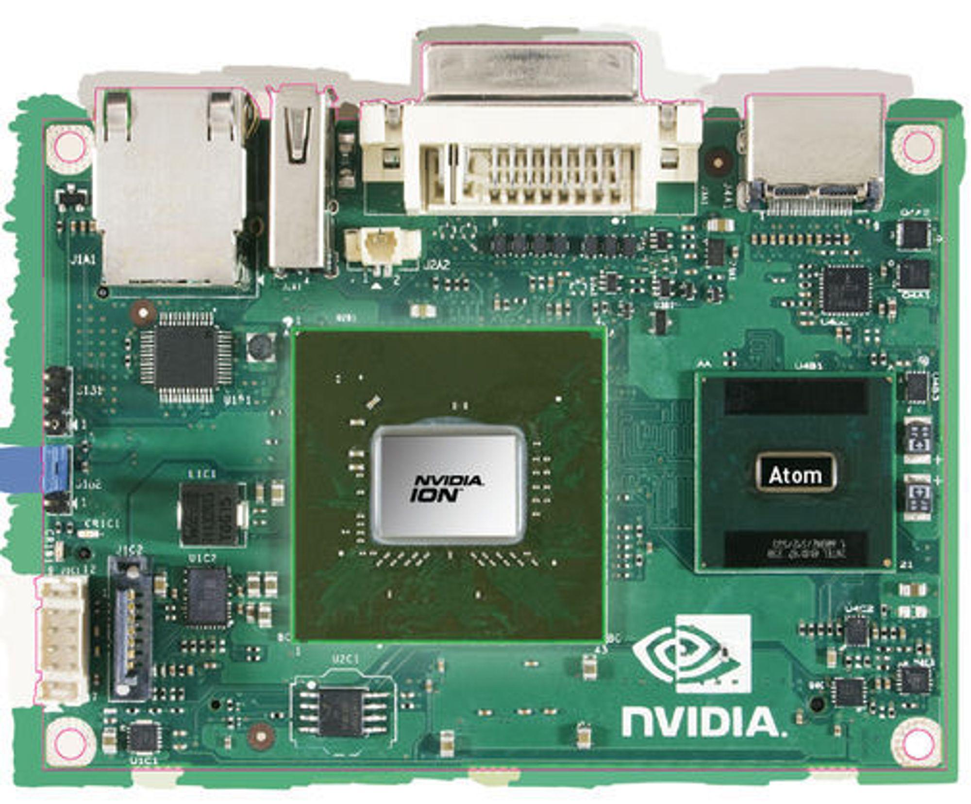 Hovedkort i pico-størrelsen med Intel Atom-prosessor og Nvidia Ion GPU.
