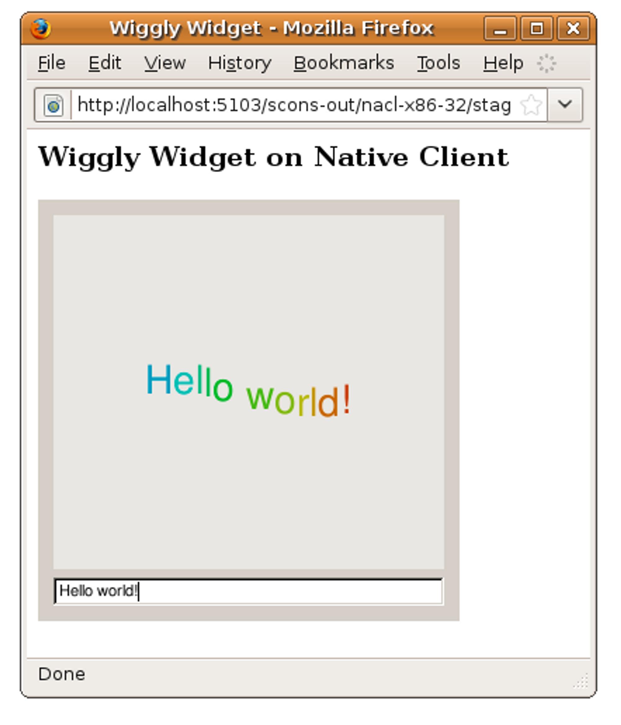 Qt-widget som kjøres ved hjelp av Qt for NaCl og Native Client i Firefox.