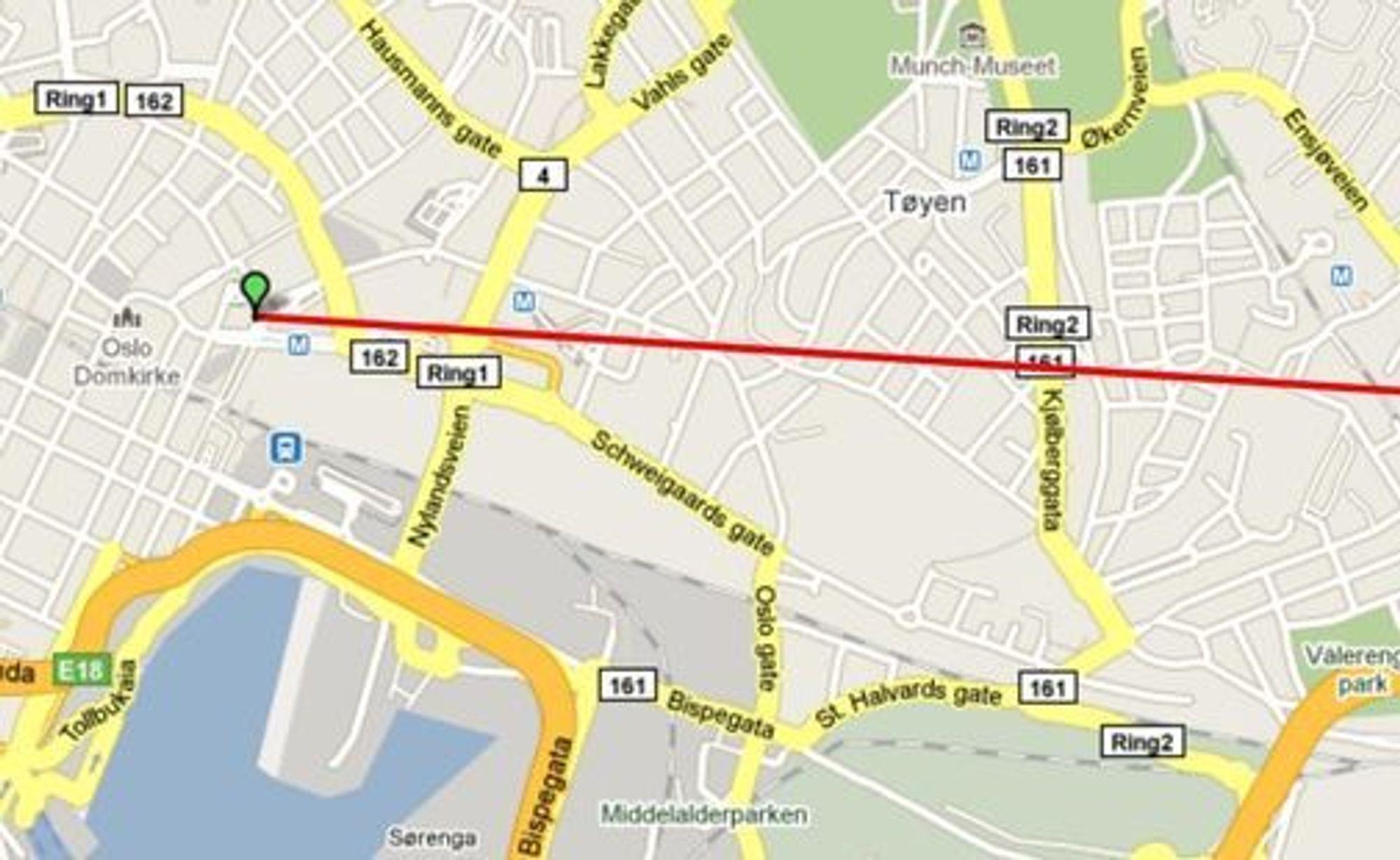 Lag og del reiseruter ved hjelp av mobiltelefonen, Twitter og TweetJourney. På bildet starter ruten sentralt i Oslo i digi.nos-lokaler.