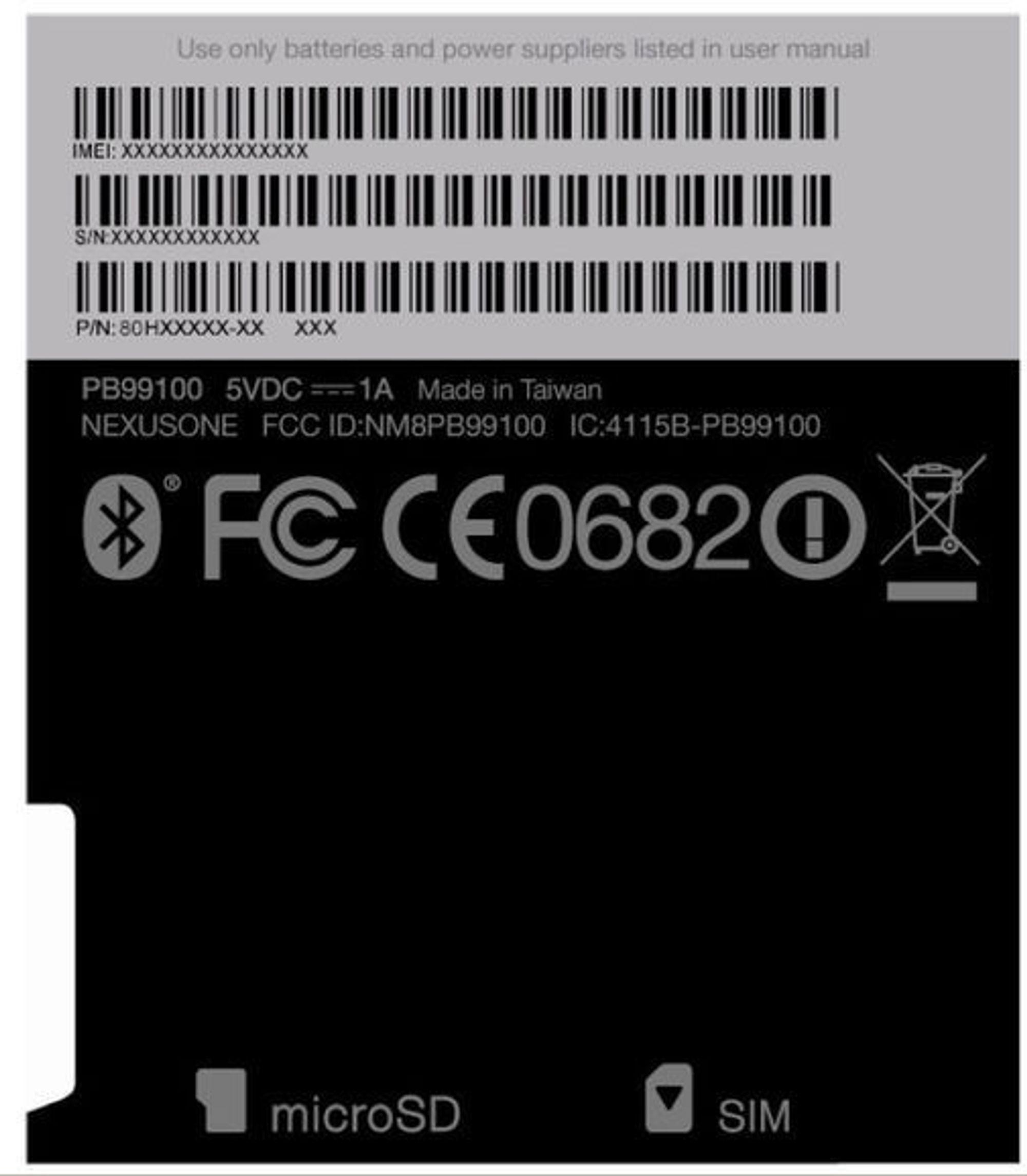 FCC-godkjennelse på baksiden av Google Nexus One