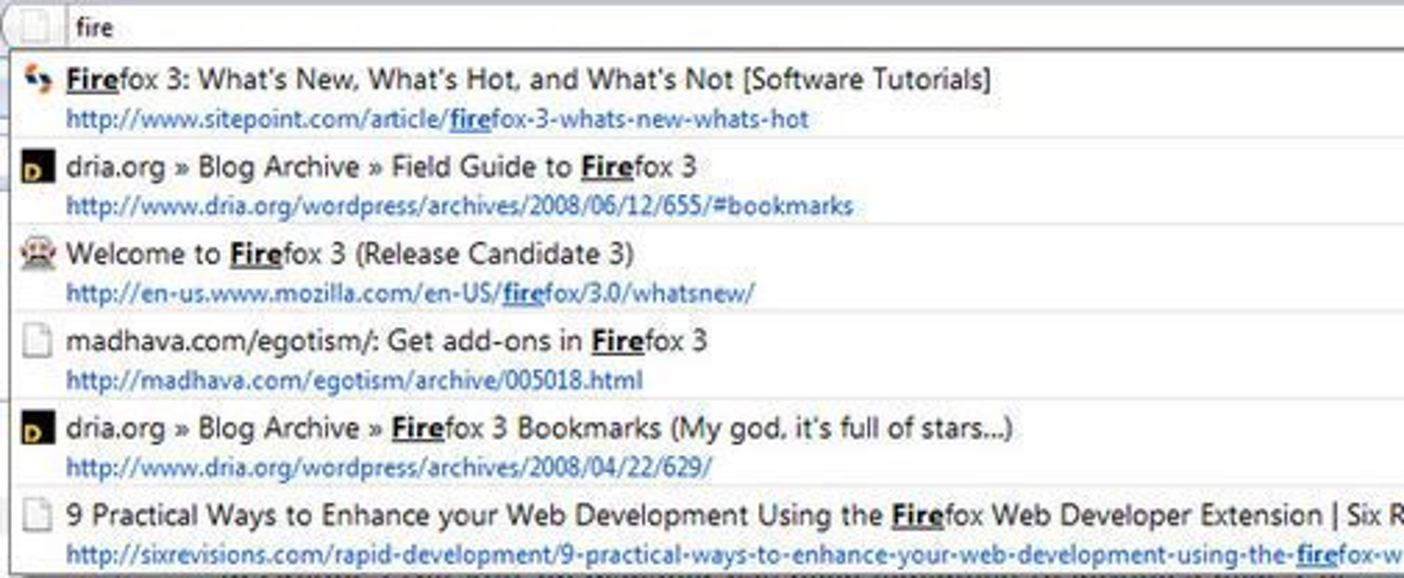 Firefox 3 AwesomeBar