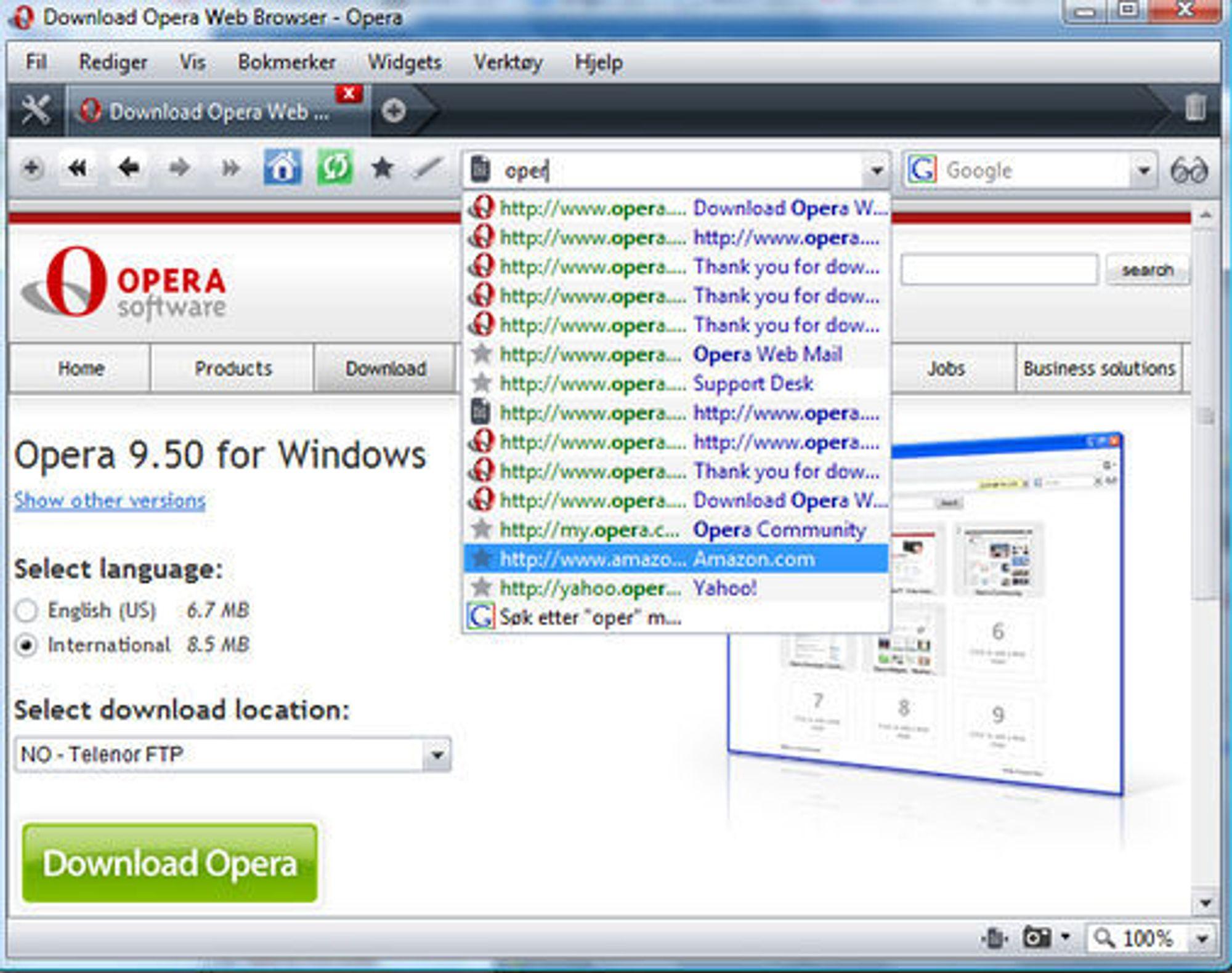 Opera 9.5 med Quick Find.