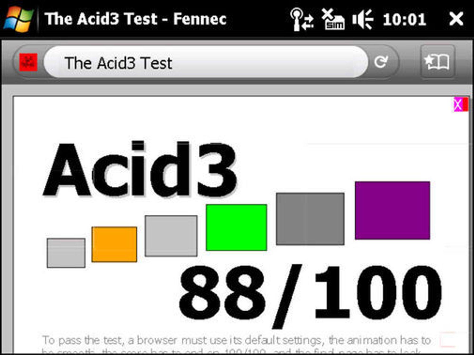 Mozilla Firefox for Mobile er blant nettleserne som gjør det best i Acid3-testen.