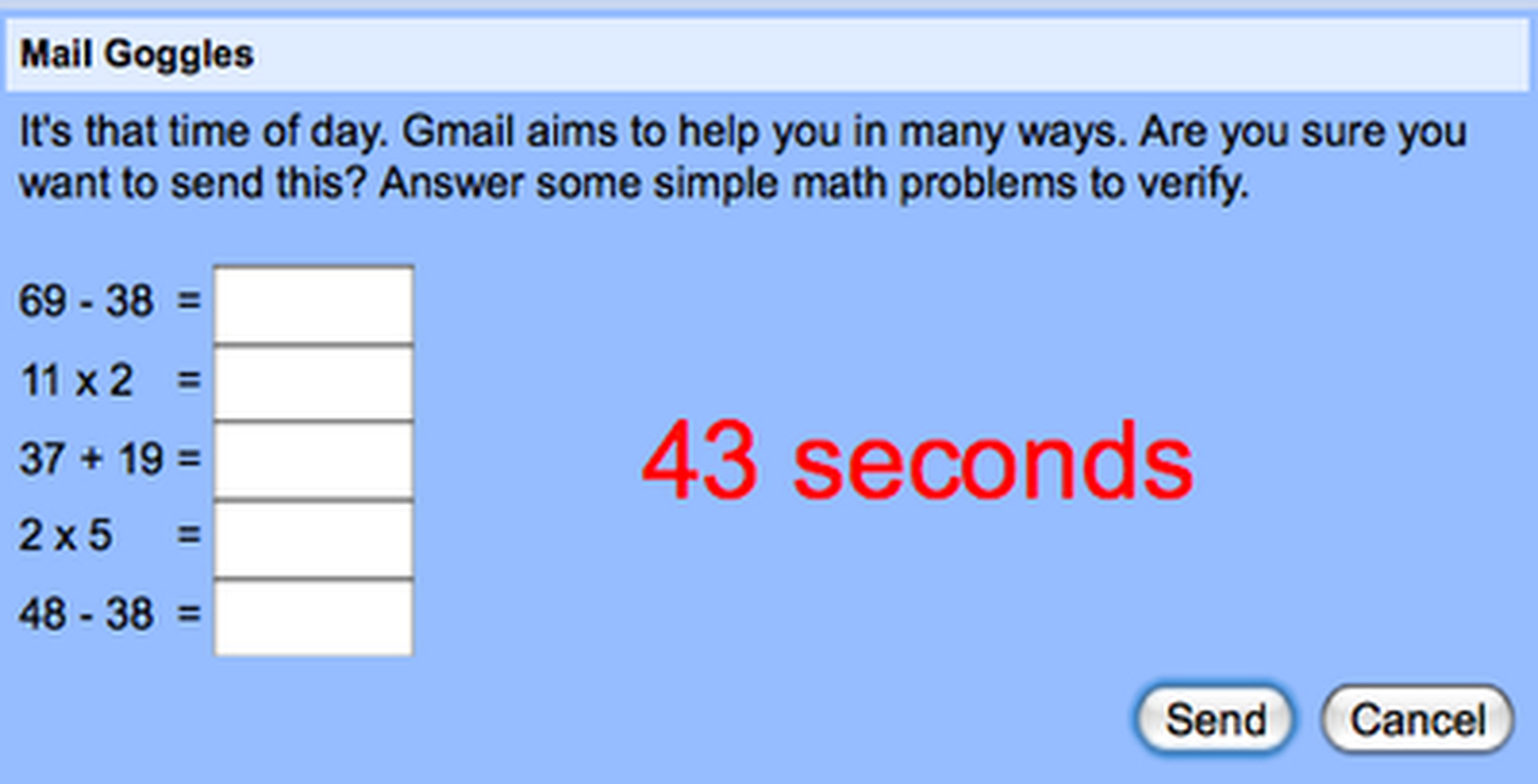 For å få lov til å sende e-post sent i helgene må du løse noen enkle matteoppgaver på tid.