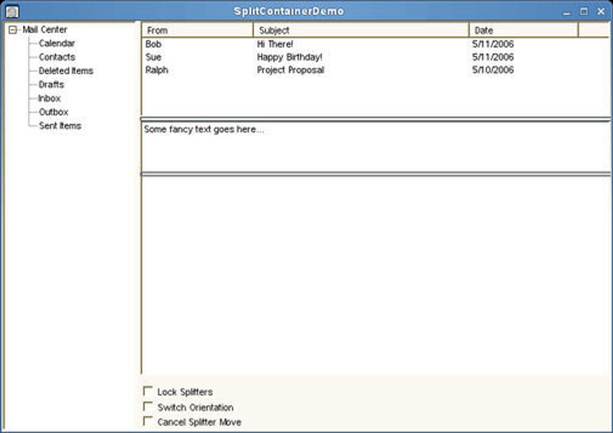 Mono 2.0 støtter kontrollen Splitcontainer.